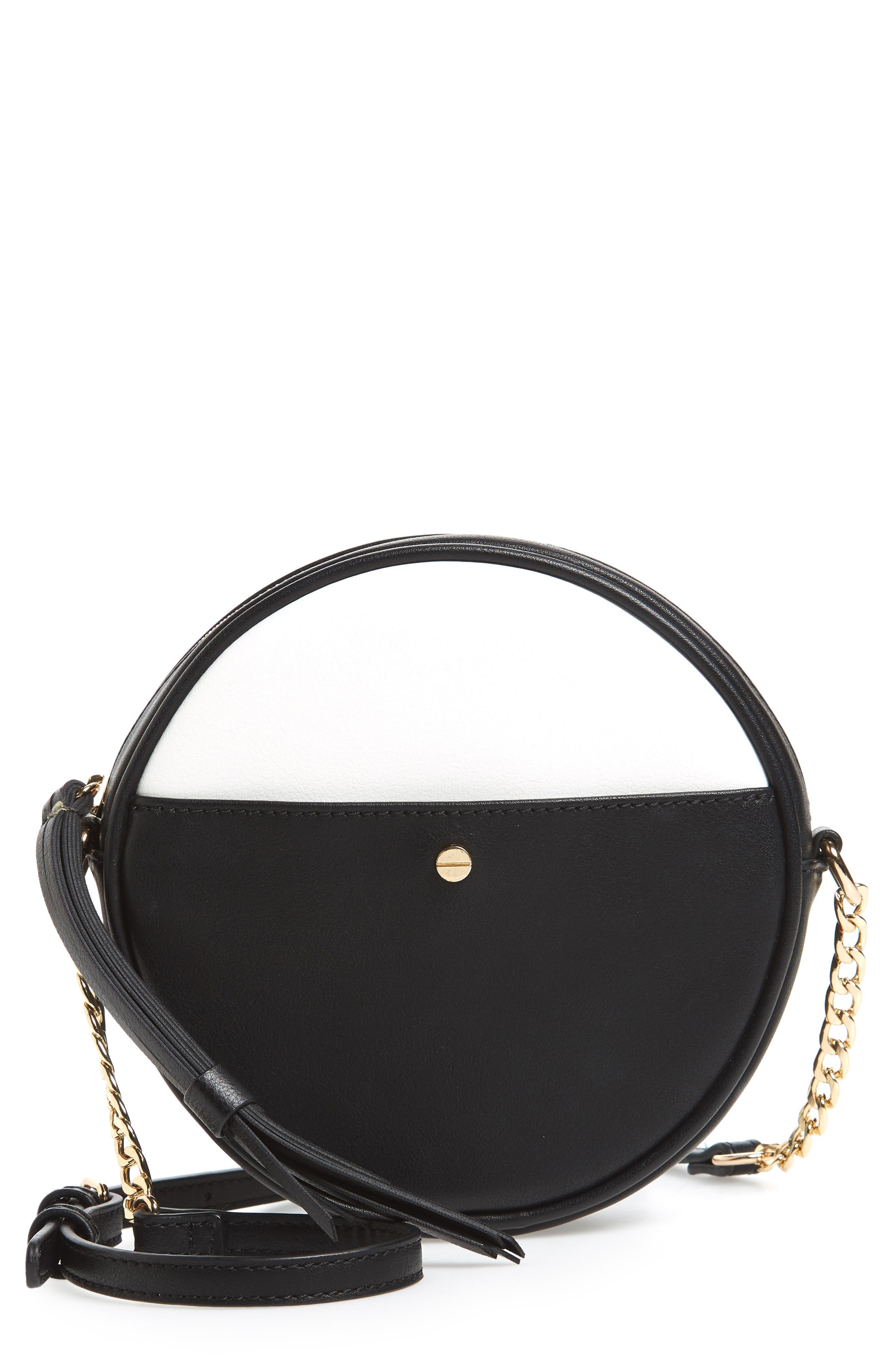 Mali + Lili Payton Vegan Leather Canteen Crossbody Bag,                             Main thumbnail 1, color,                             Black/ White