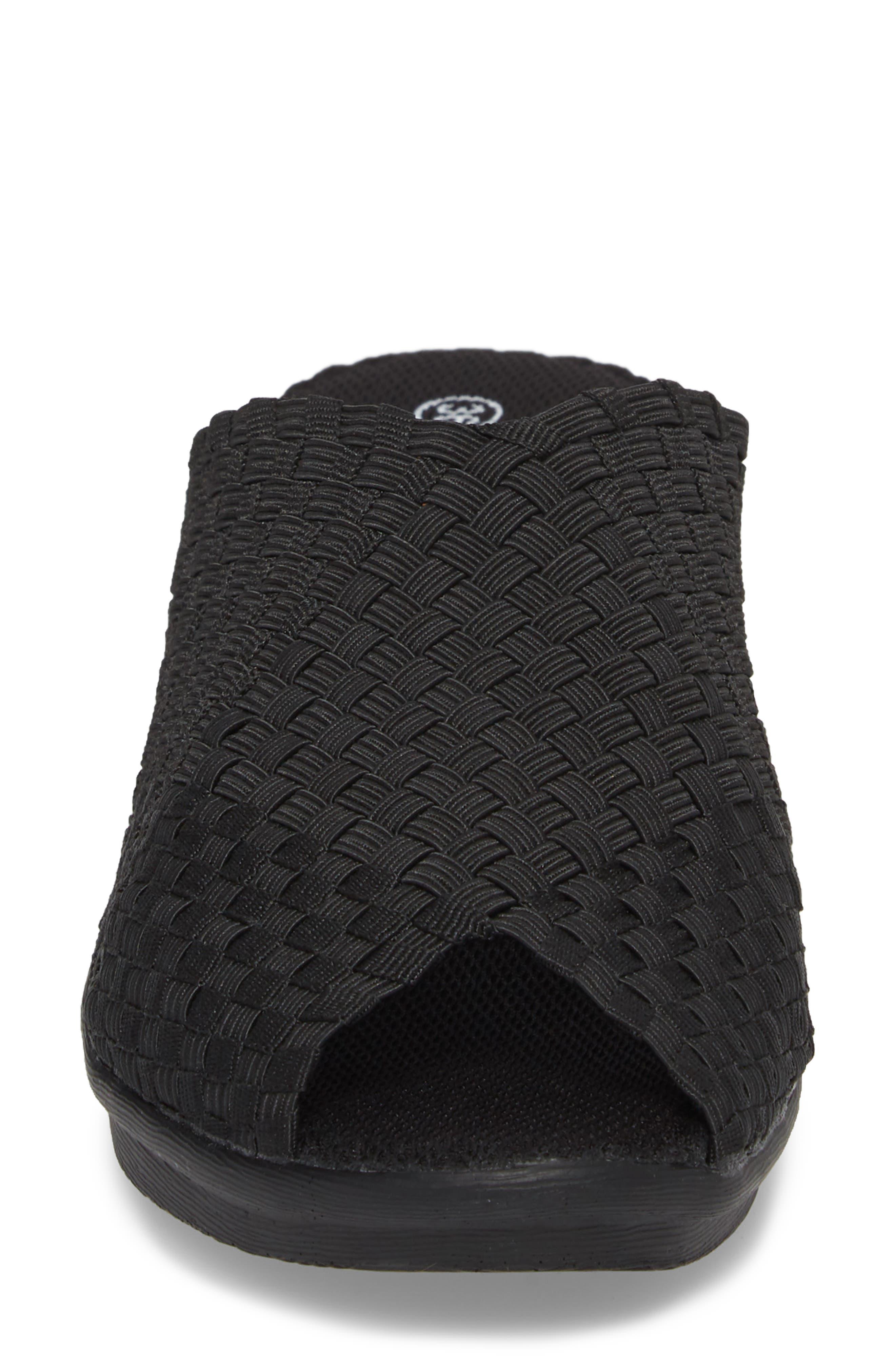 Cyrene Wedge Sandal,                             Alternate thumbnail 4, color,                             Black Fabric