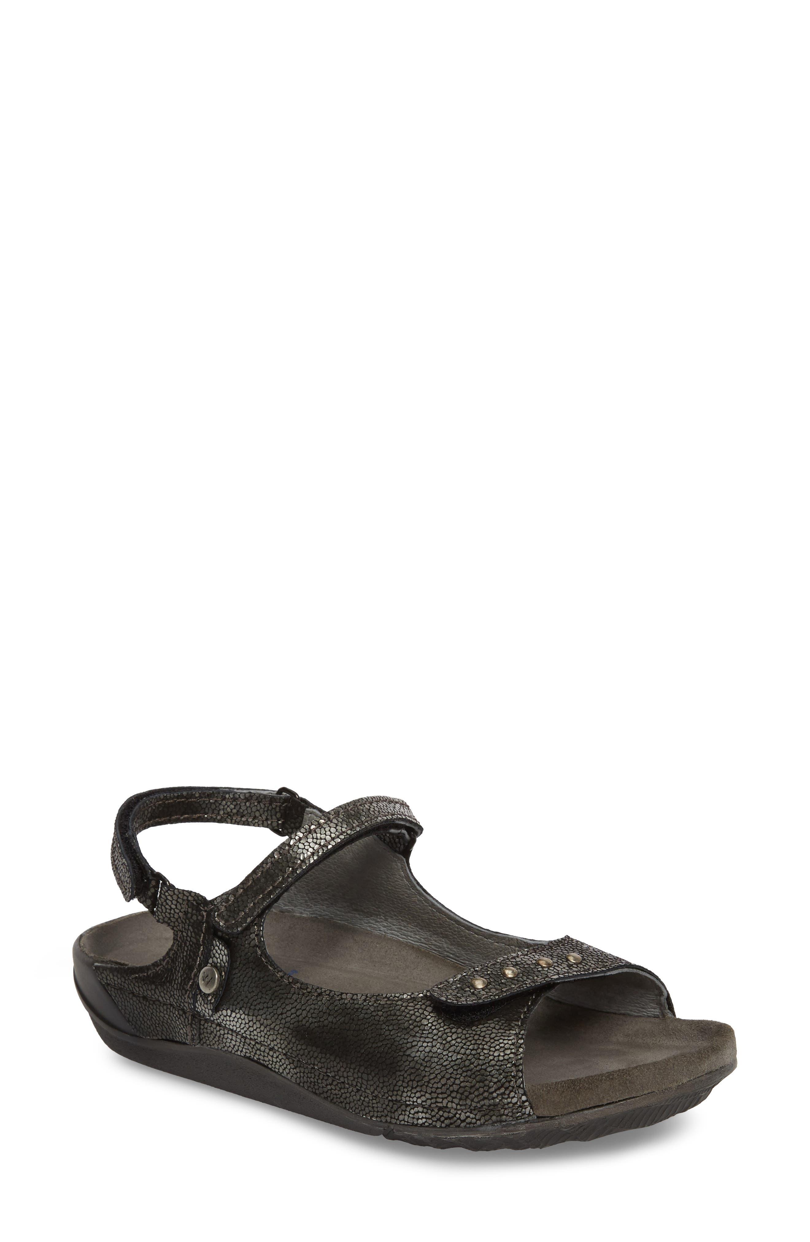 Cortez Sandal,                             Main thumbnail 1, color,                             Black Leather
