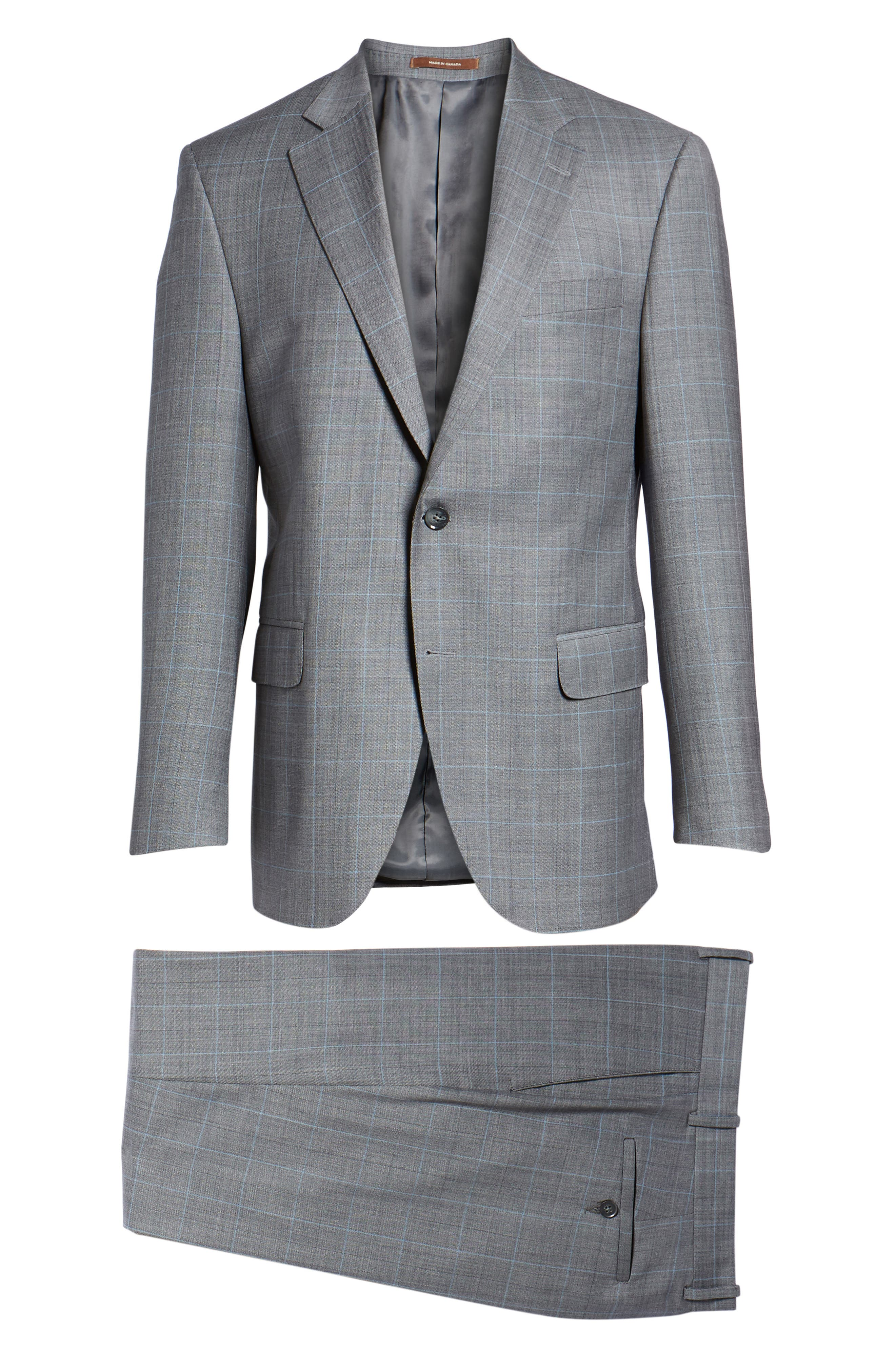 Classic Fit Windowpane Wool Suit,                             Alternate thumbnail 8, color,                             Grey