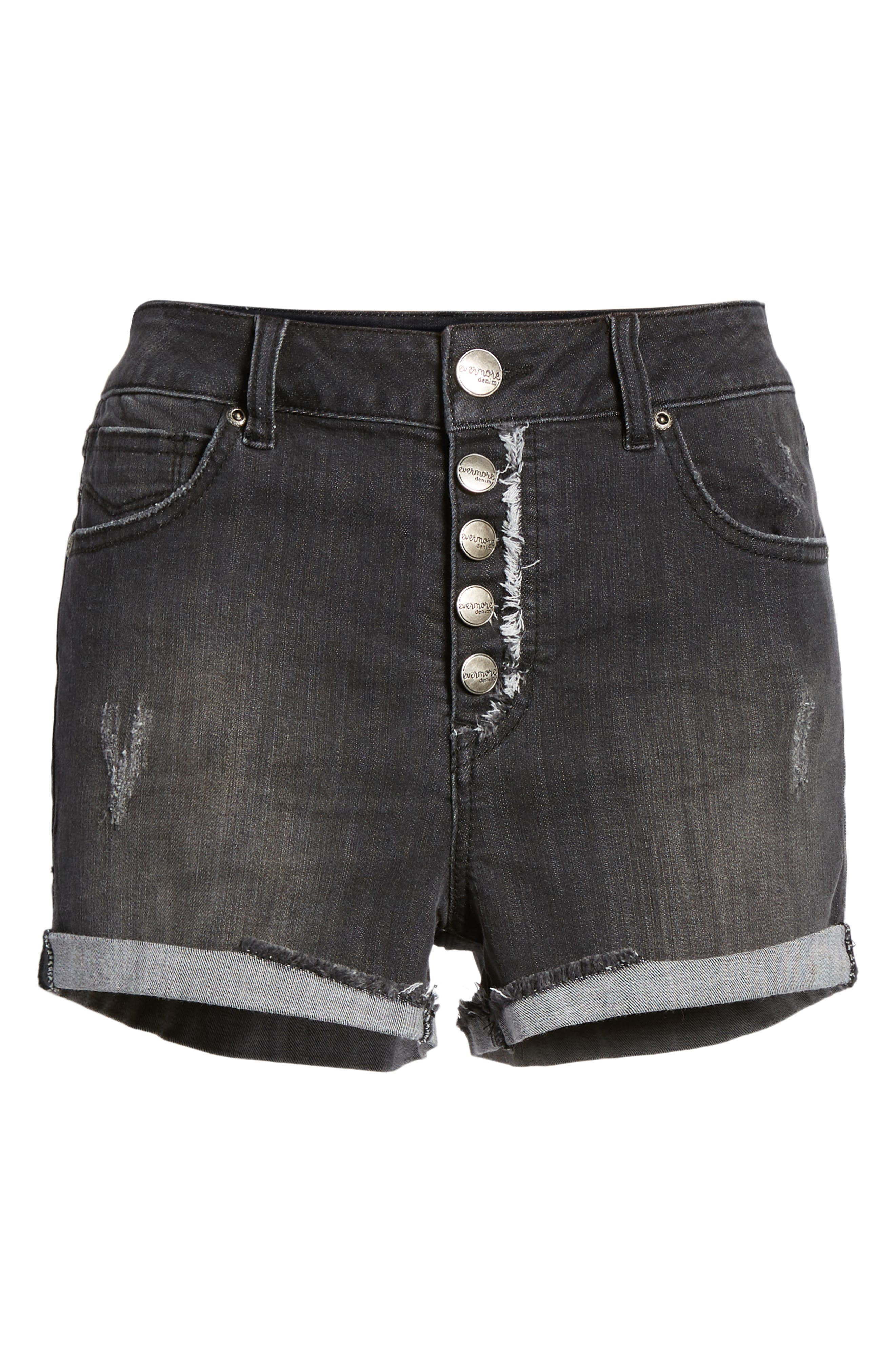 Cuffed Button Fly Denim Shorts,                             Alternate thumbnail 7, color,                             Bentley