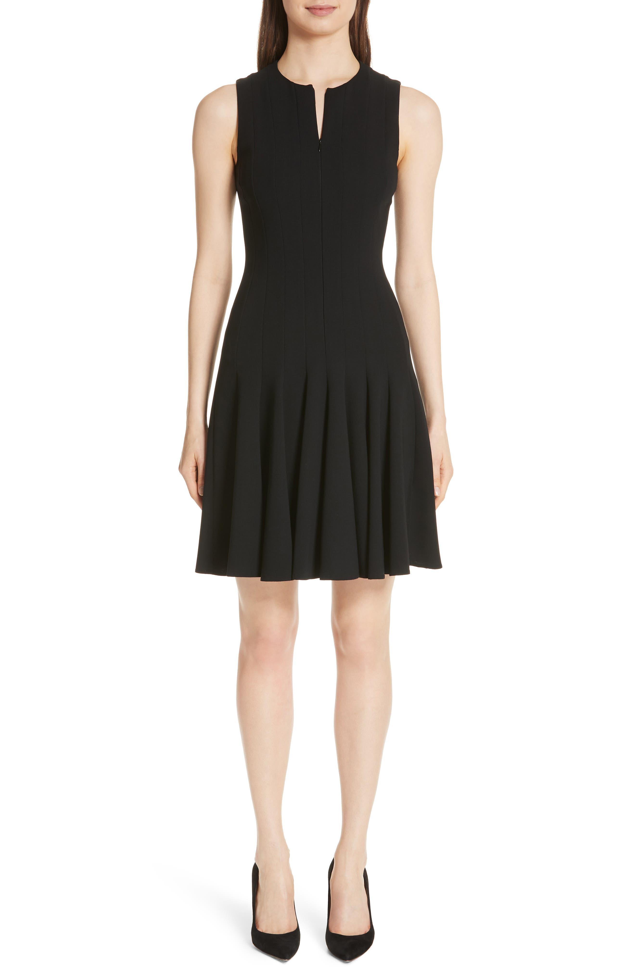 Sleeveless Godet Pleat Dress,                             Main thumbnail 1, color,                             Black