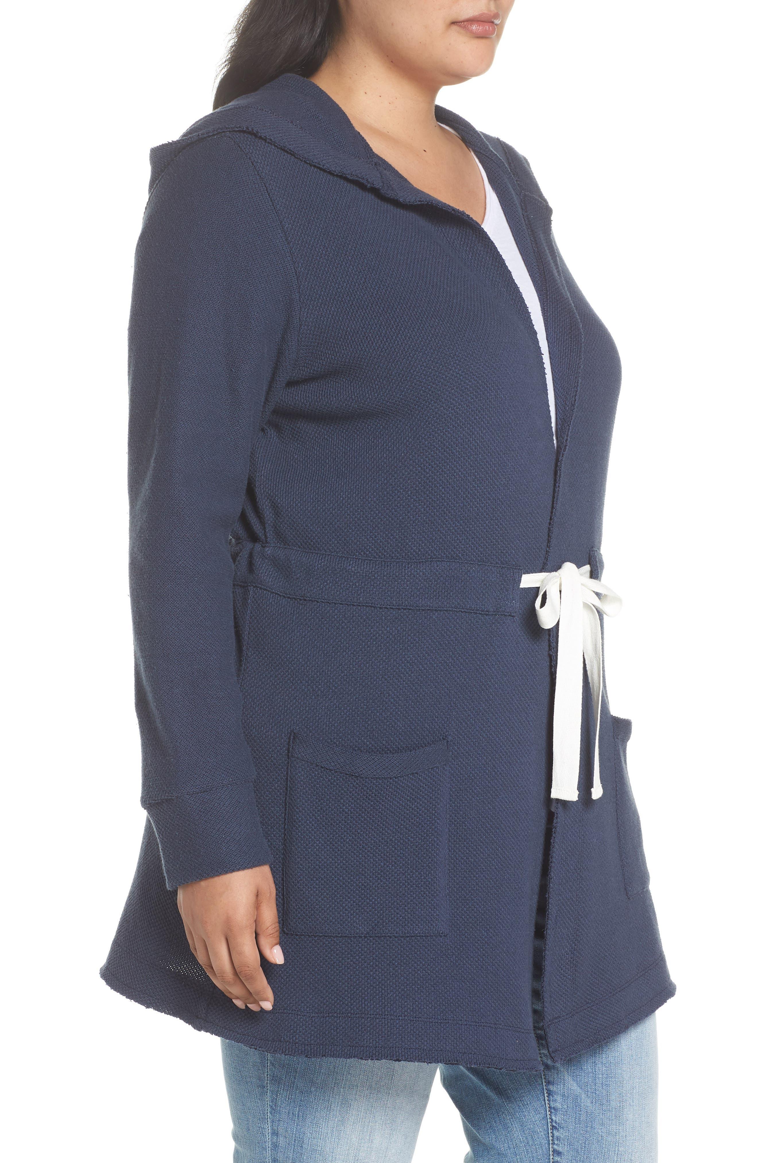 Tie Waist Knit Hooded Jacket,                             Alternate thumbnail 3, color,                             Navy Indigo