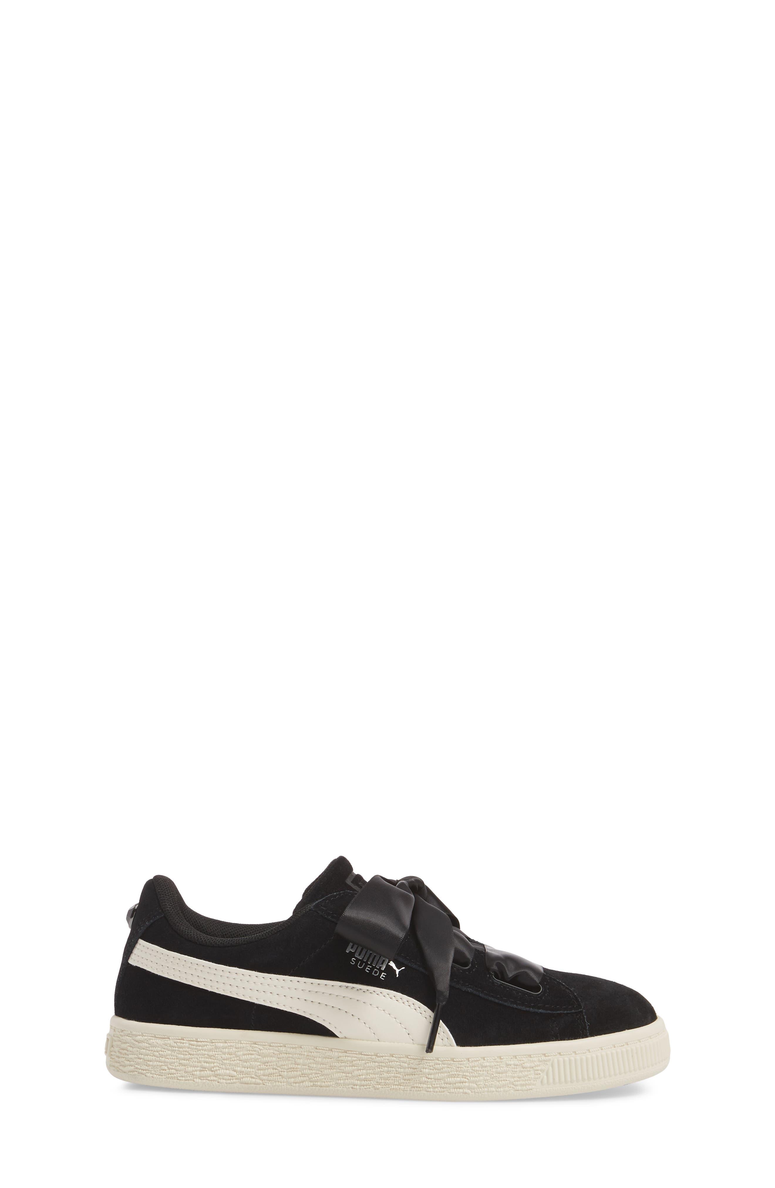 Suede Heart Sneaker,                             Alternate thumbnail 3, color,                             Puma Black/ Whisper White