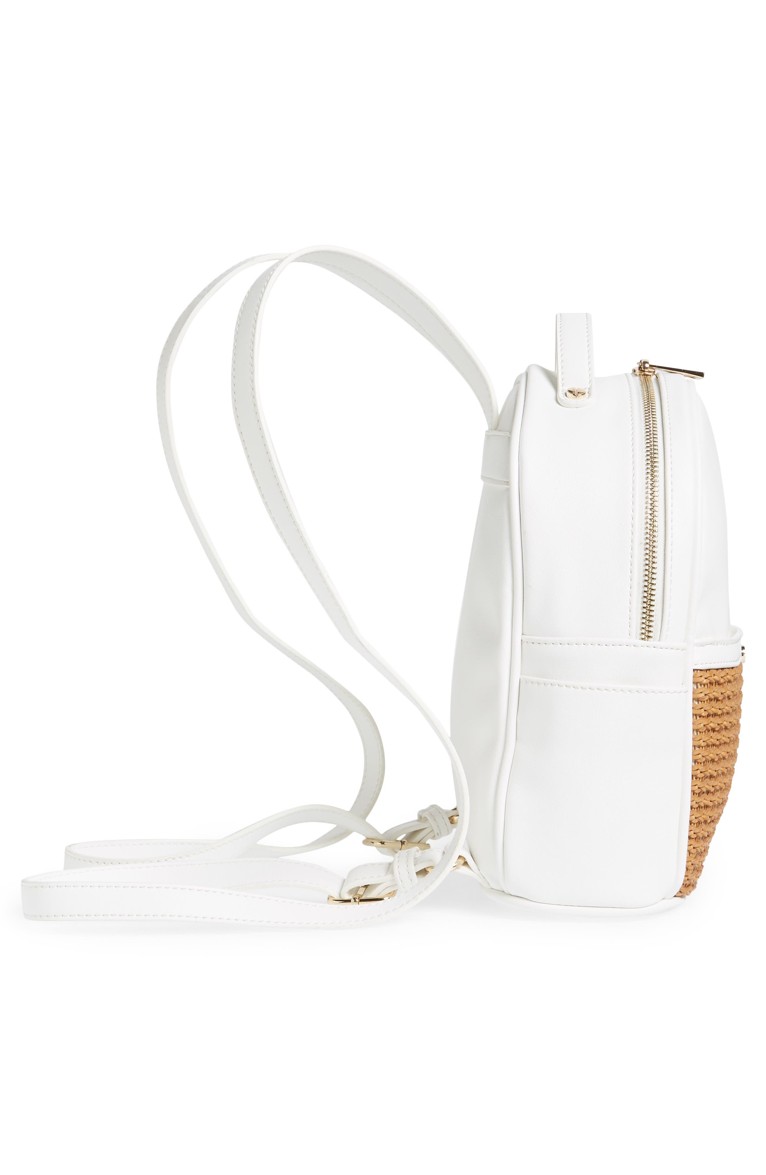 Mali + Lili Harper Lili Basket Weave Backpack,                             Alternate thumbnail 5, color,                             White