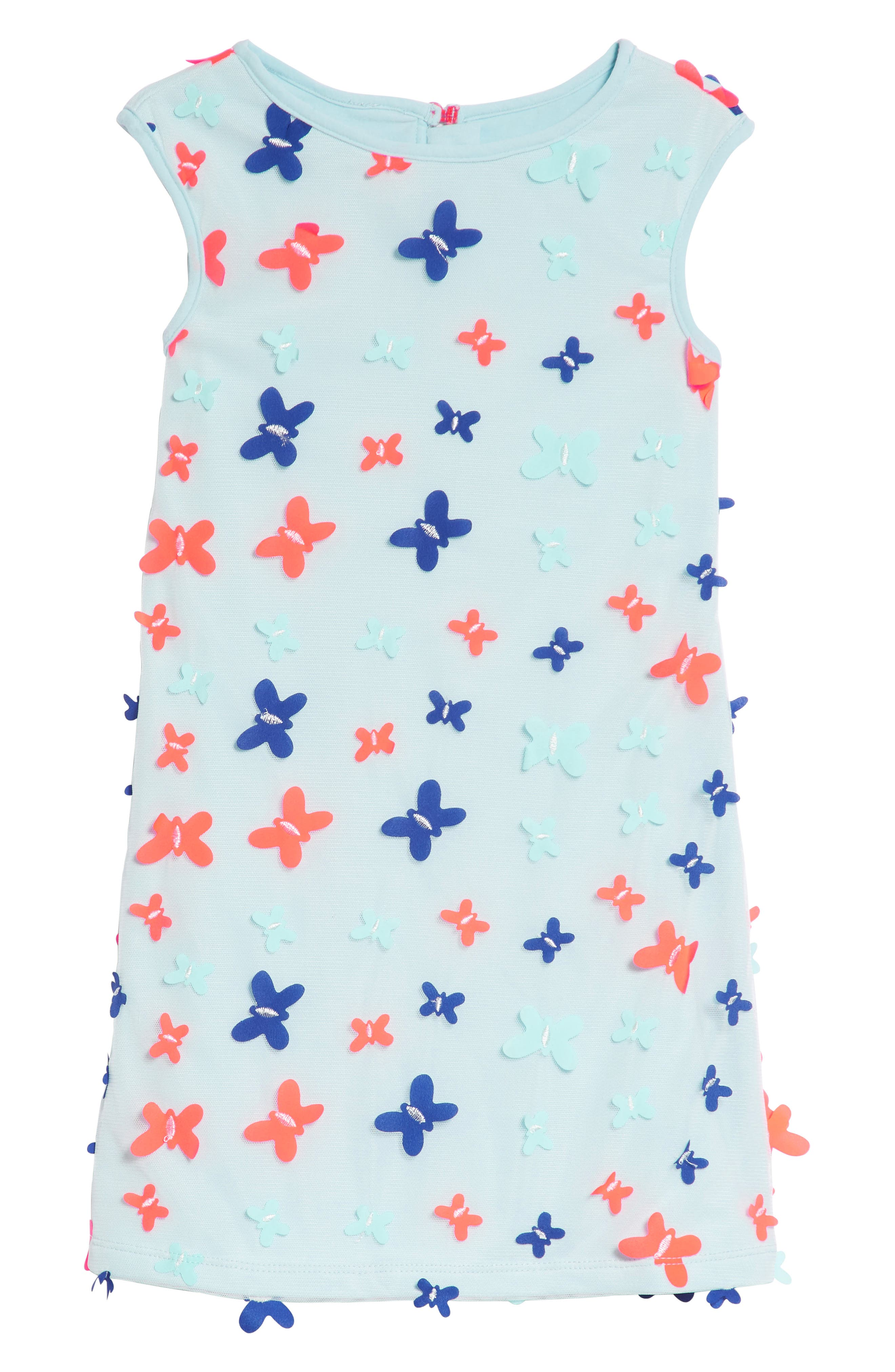 3D Butterfly Embellished Mesh Dress,                         Main,                         color, Blue