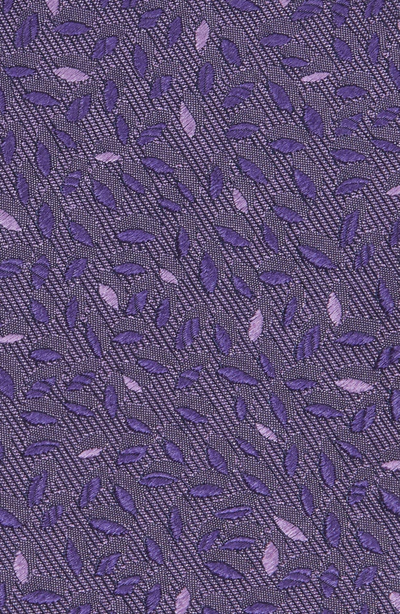 Leaves Silk Tie,                             Alternate thumbnail 2, color,                             Purple