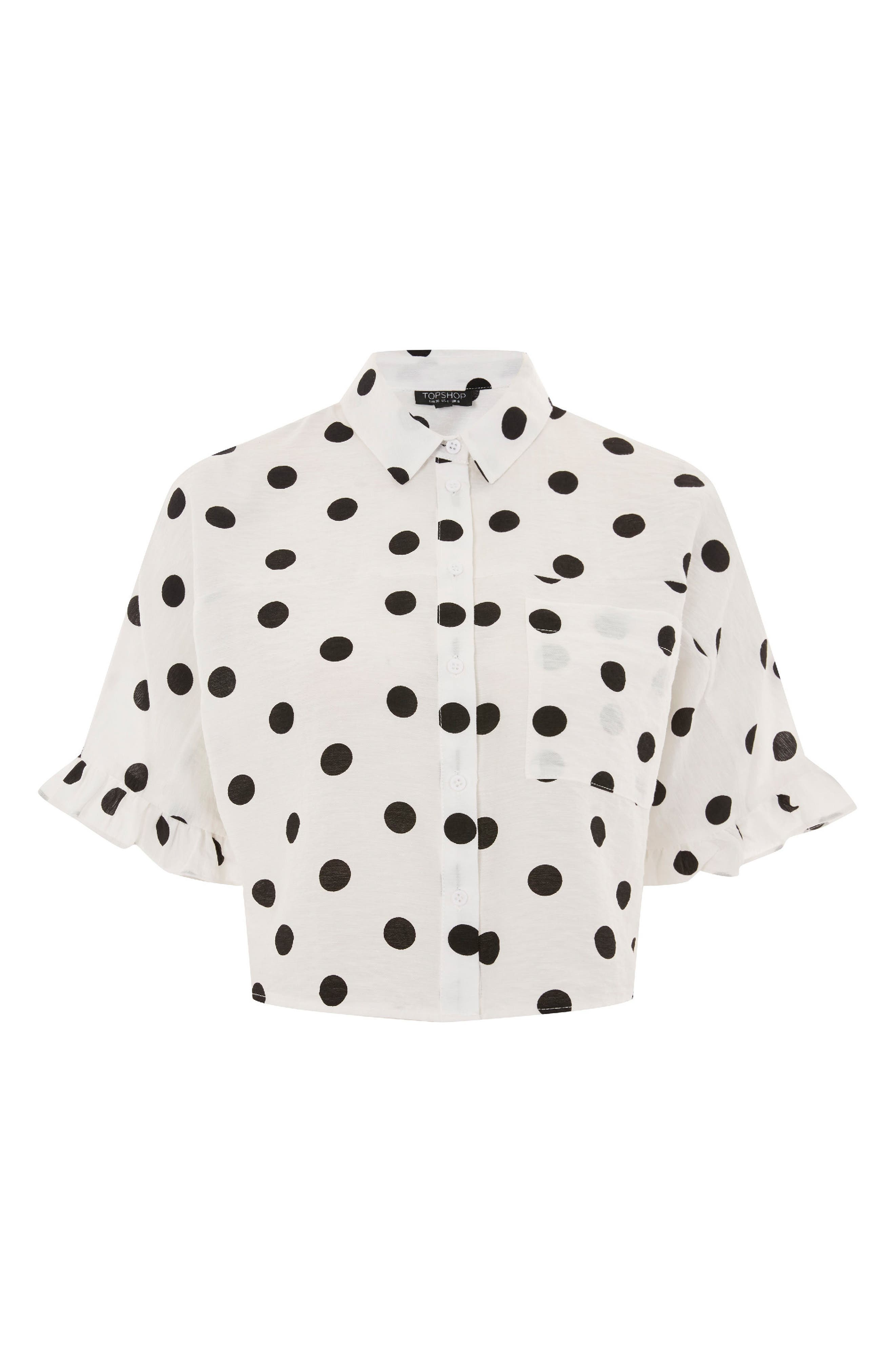 Fifi Frill Spot Shirt,                             Alternate thumbnail 3, color,                             White Multi