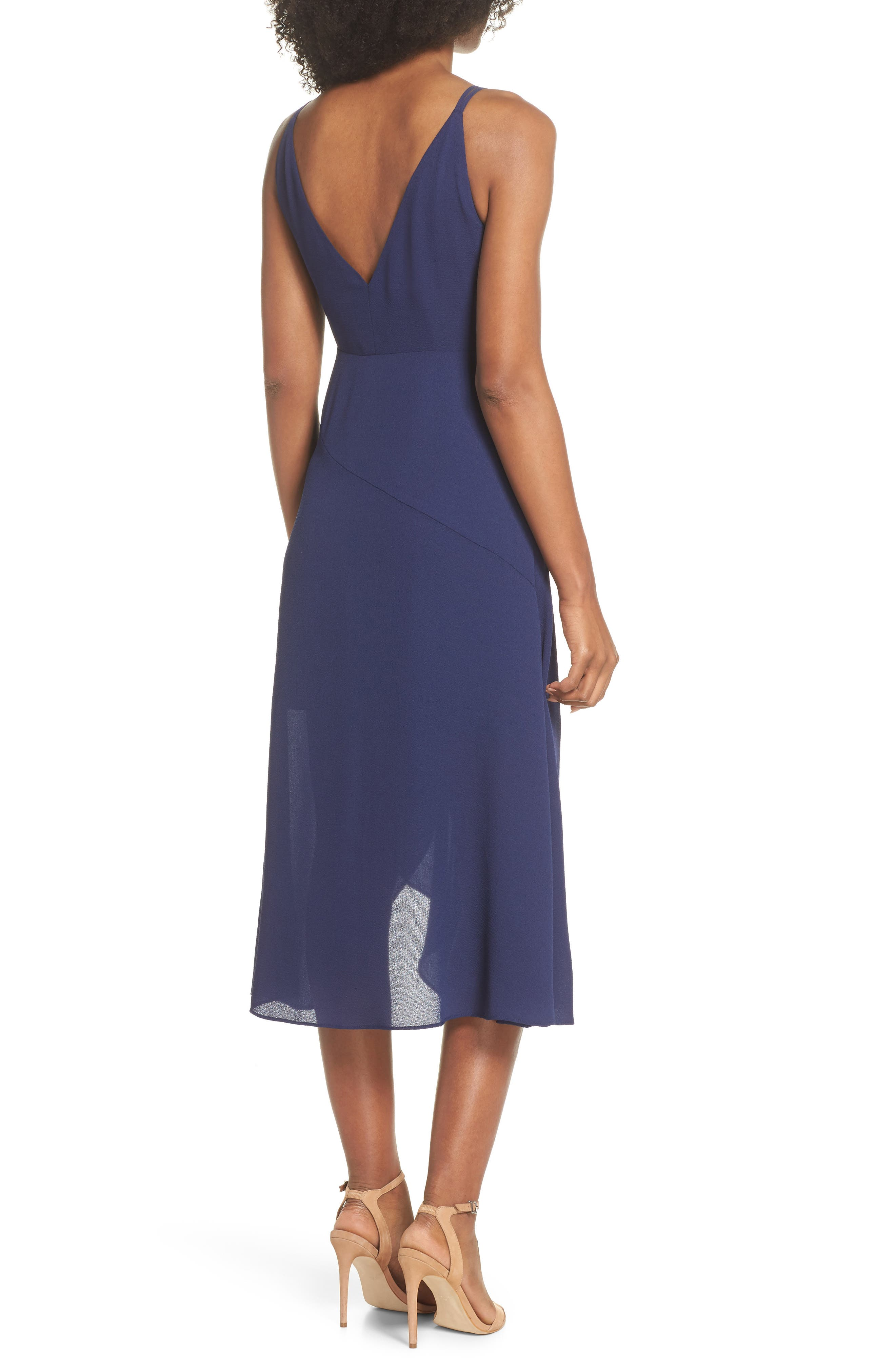 Georgette Faux Wrap Dress,                             Alternate thumbnail 2, color,                             Navy