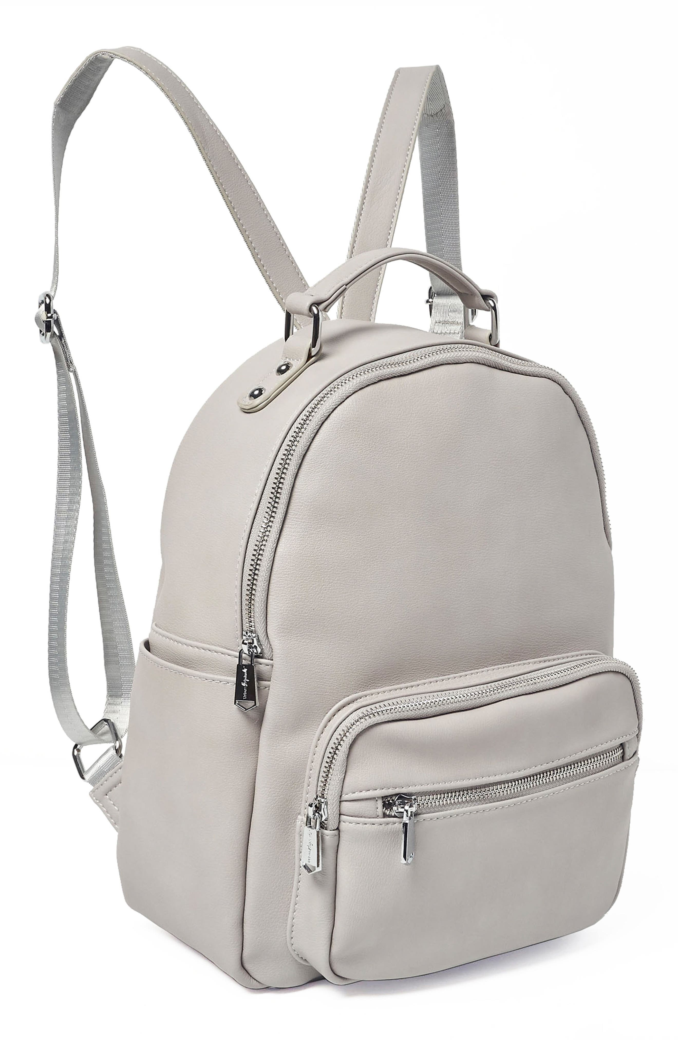 On My Own Vegan Leather Backpack,                             Alternate thumbnail 4, color,                             Grey