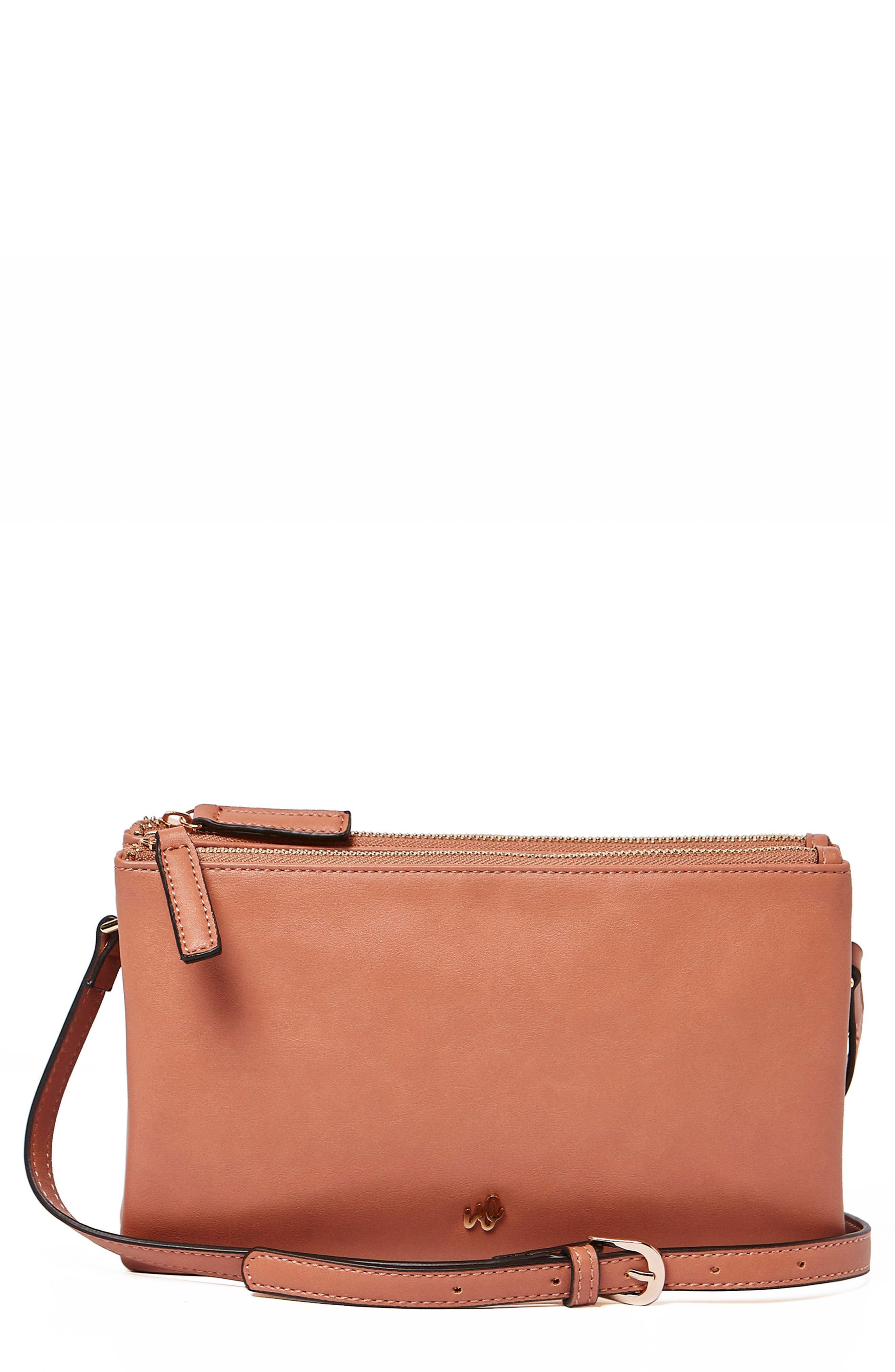 The Enchanted Vegan Leather Crossbody Bag,                             Main thumbnail 1, color,                             Rose Pink