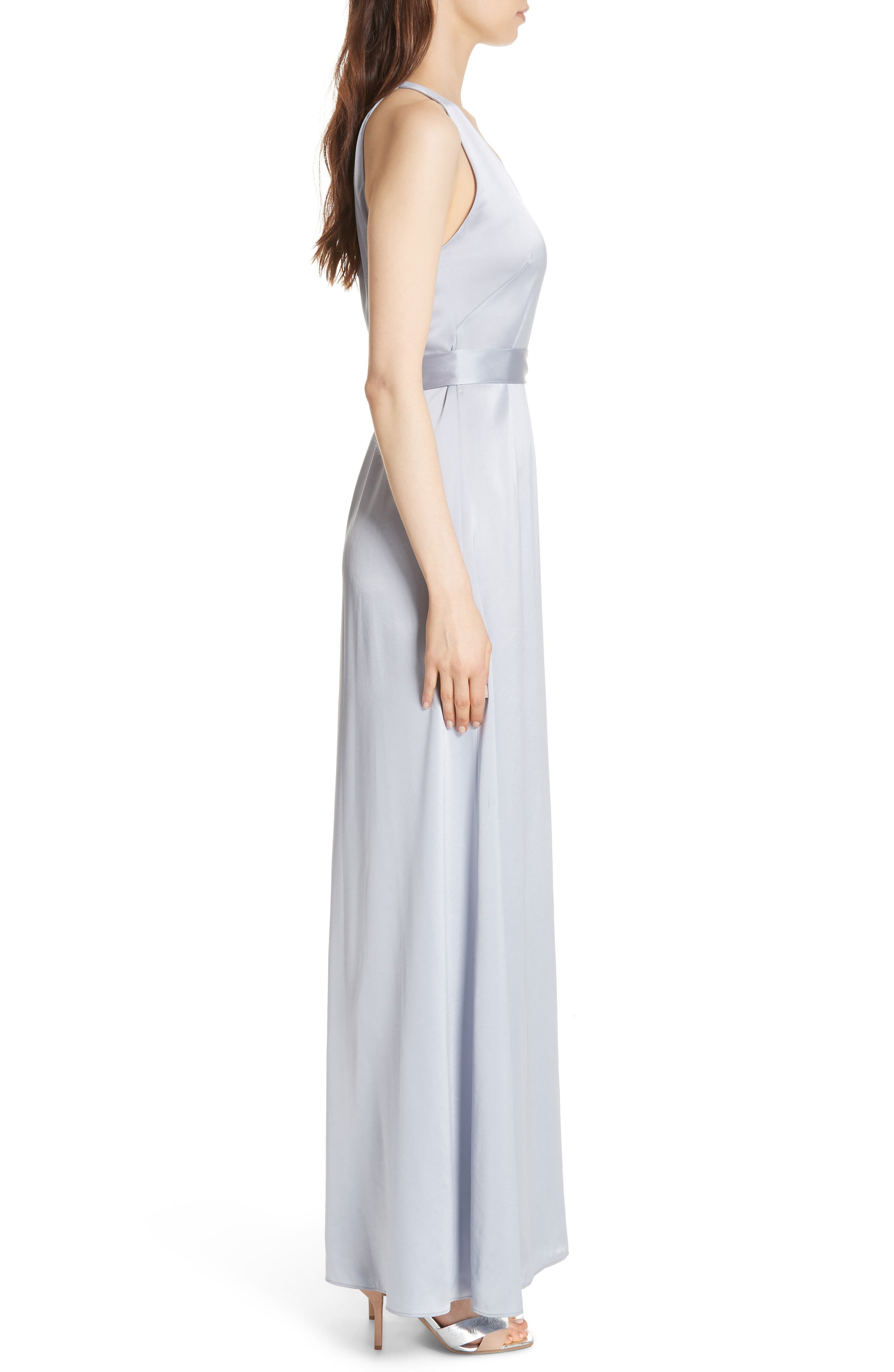 Diane von Furstenberg Wrap Gown,                             Alternate thumbnail 3, color,                             Smoke