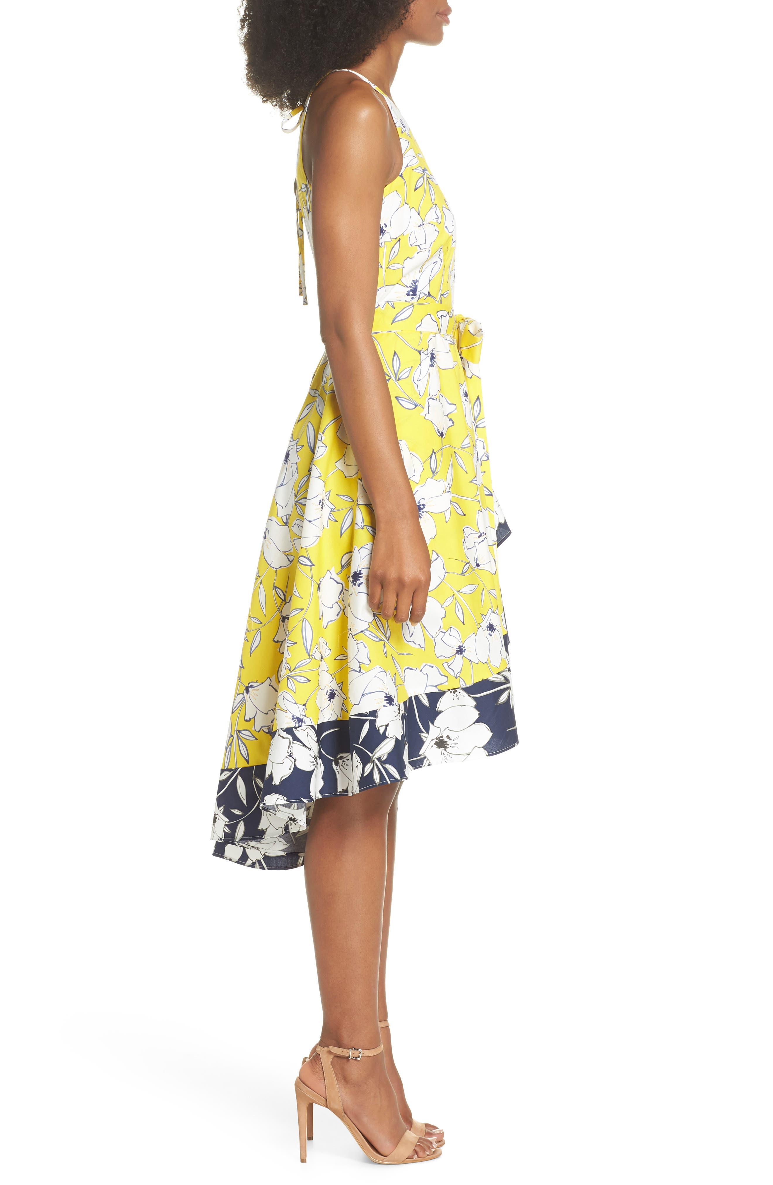 Floral Tie Waist Dress,                             Alternate thumbnail 3, color,                             Yellow/ Navy/ White