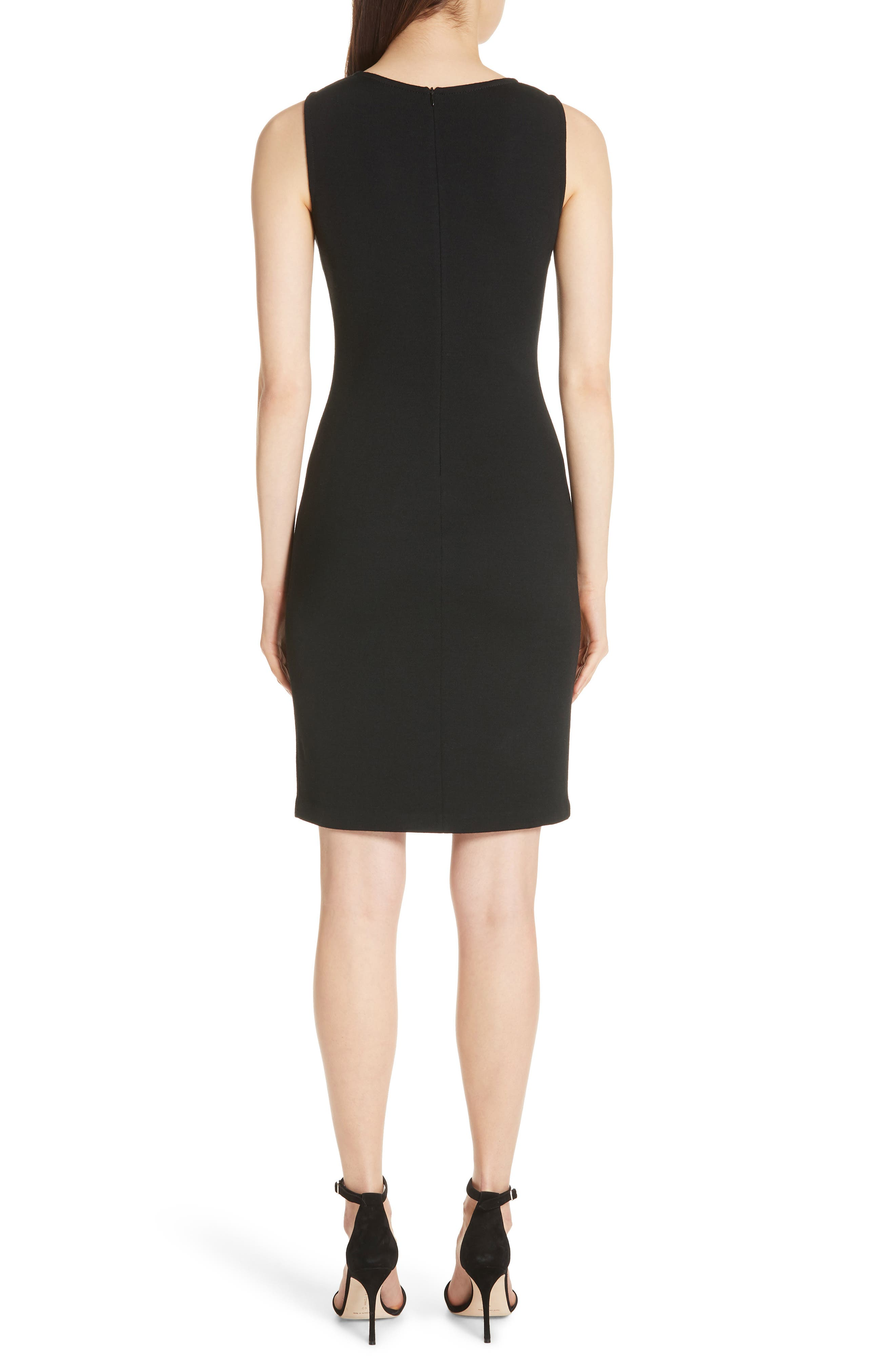 Sleeveless Milano Knit Dress,                             Alternate thumbnail 2, color,                             Caviar