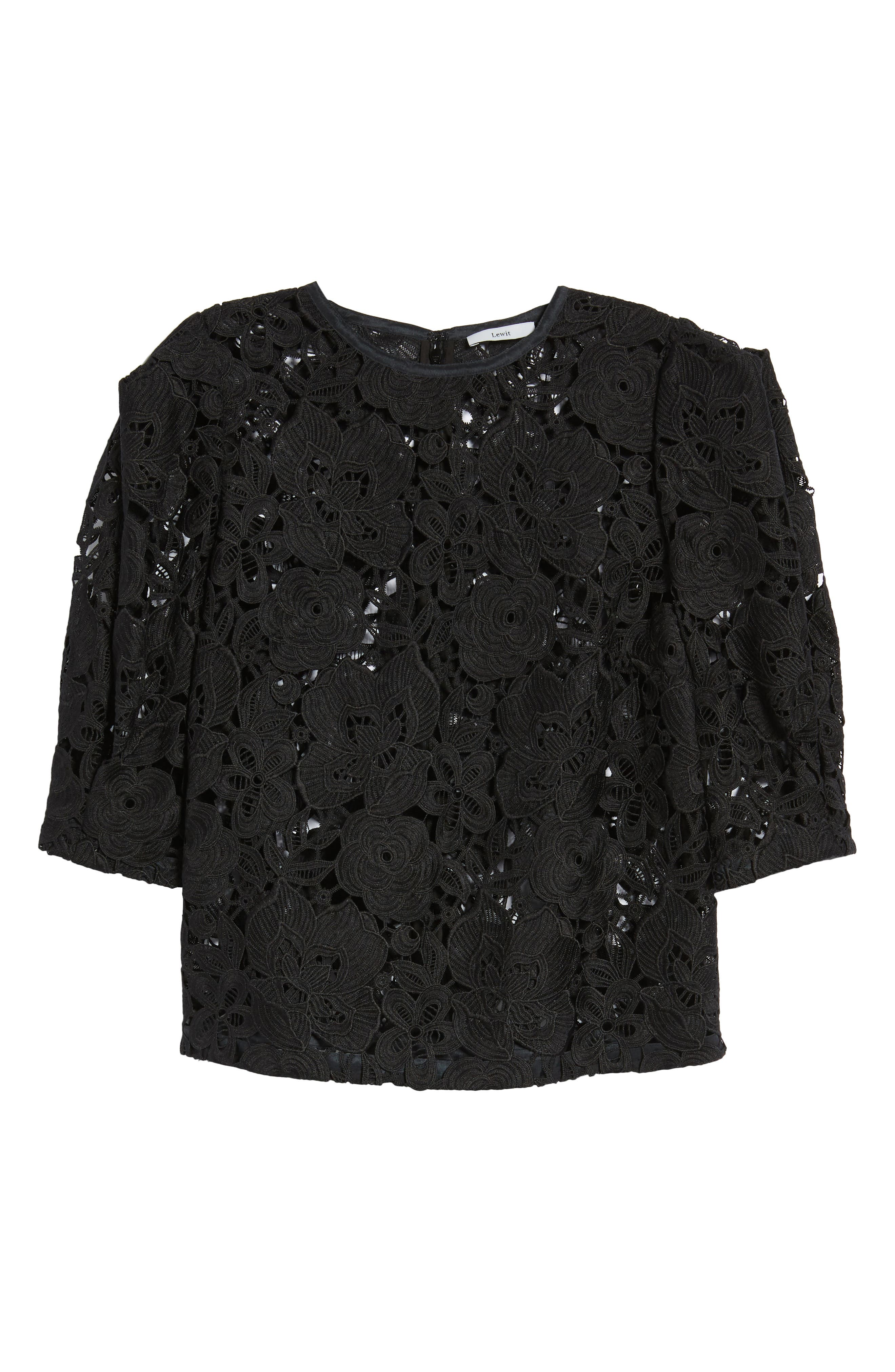 Puff Sleeve Lace Blouse,                             Alternate thumbnail 7, color,                             Black