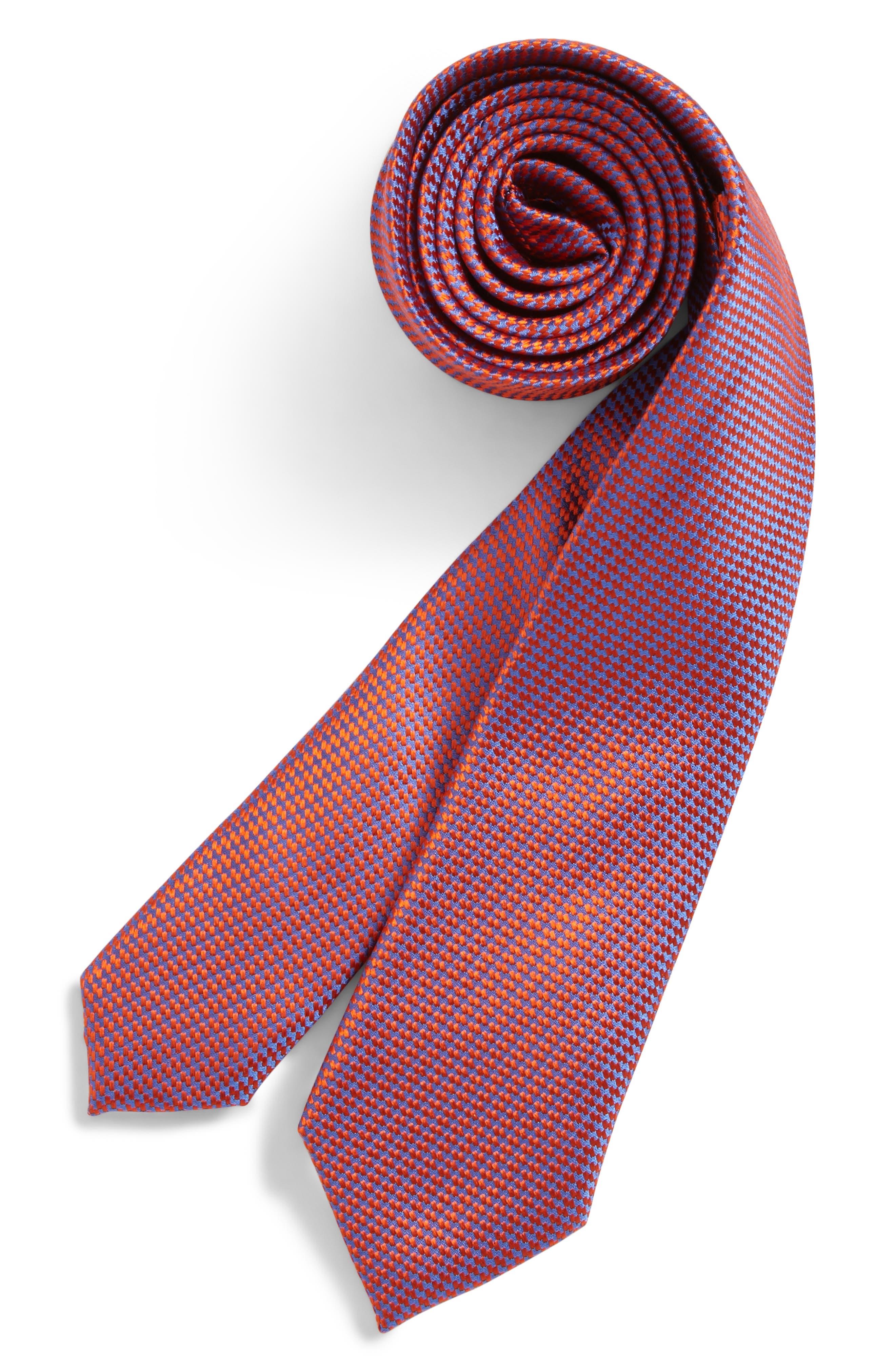 Digital Neat Silk Tie,                             Main thumbnail 1, color,                             Orange