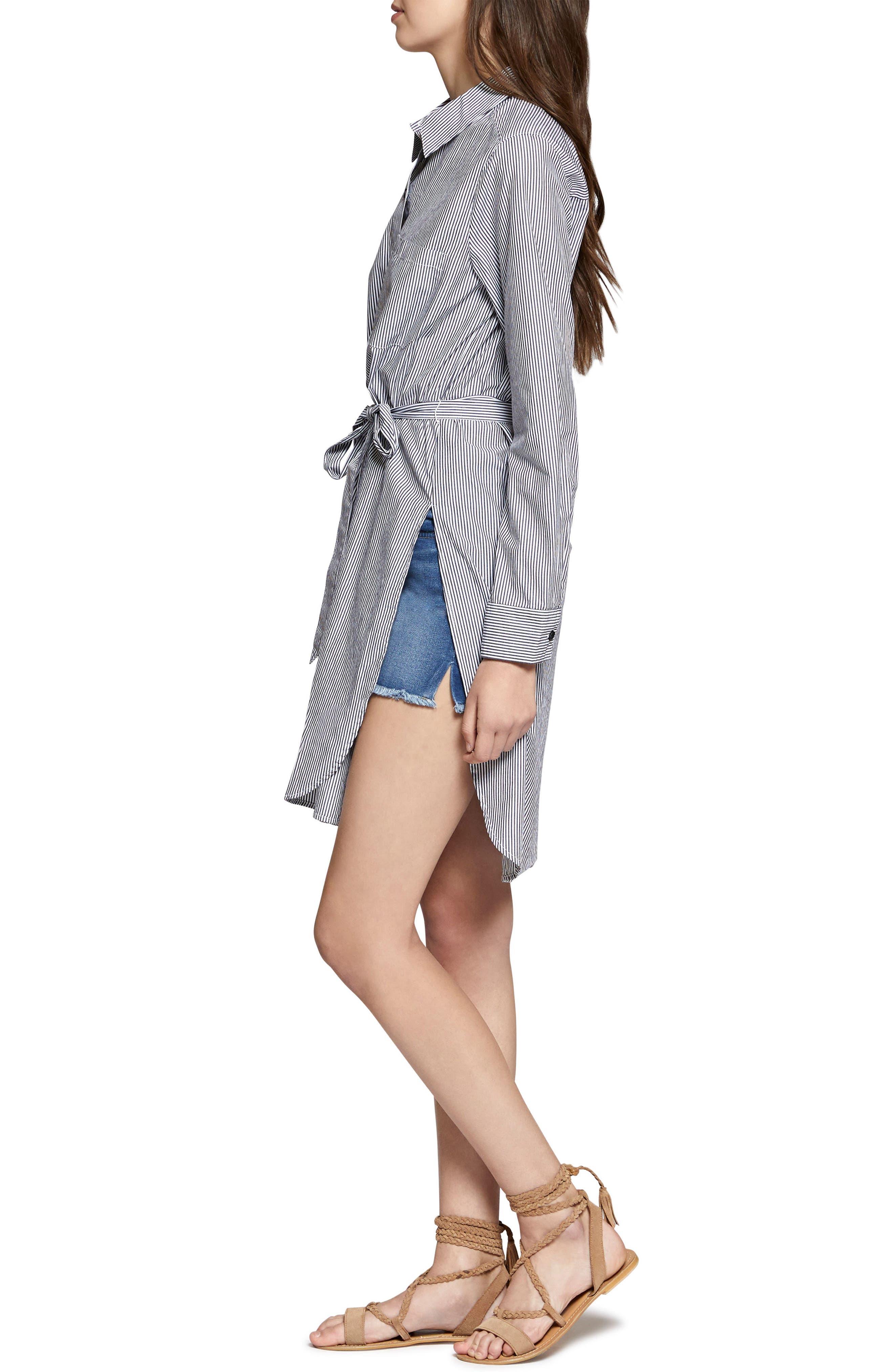 Taegan Stripe Tunic Shirt,                             Alternate thumbnail 3, color,                             Black/ White Stripe