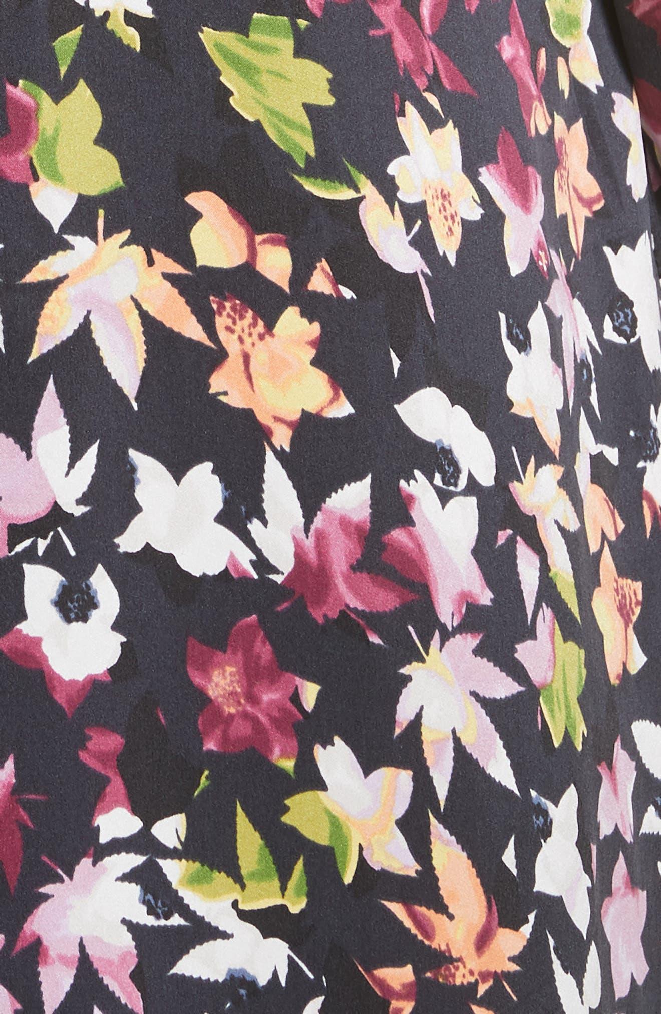Simone Floral Silk Button Sleeve Maxi Dress,                             Alternate thumbnail 4, color,                             Eclipse Multi