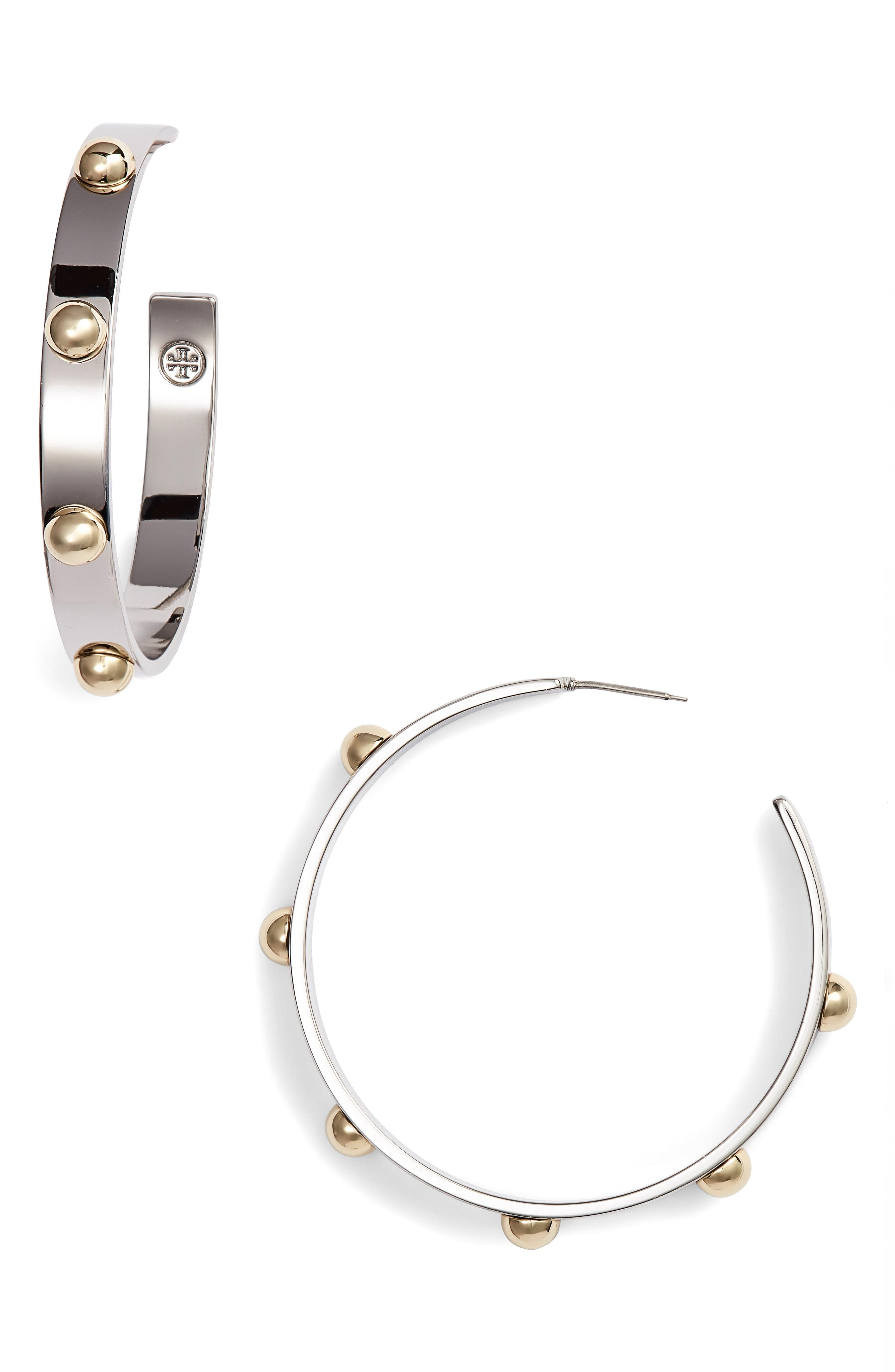 Stacked Studded Hoop Earrings,                             Main thumbnail 1, color,                             Tory Gold/ Tory Silver