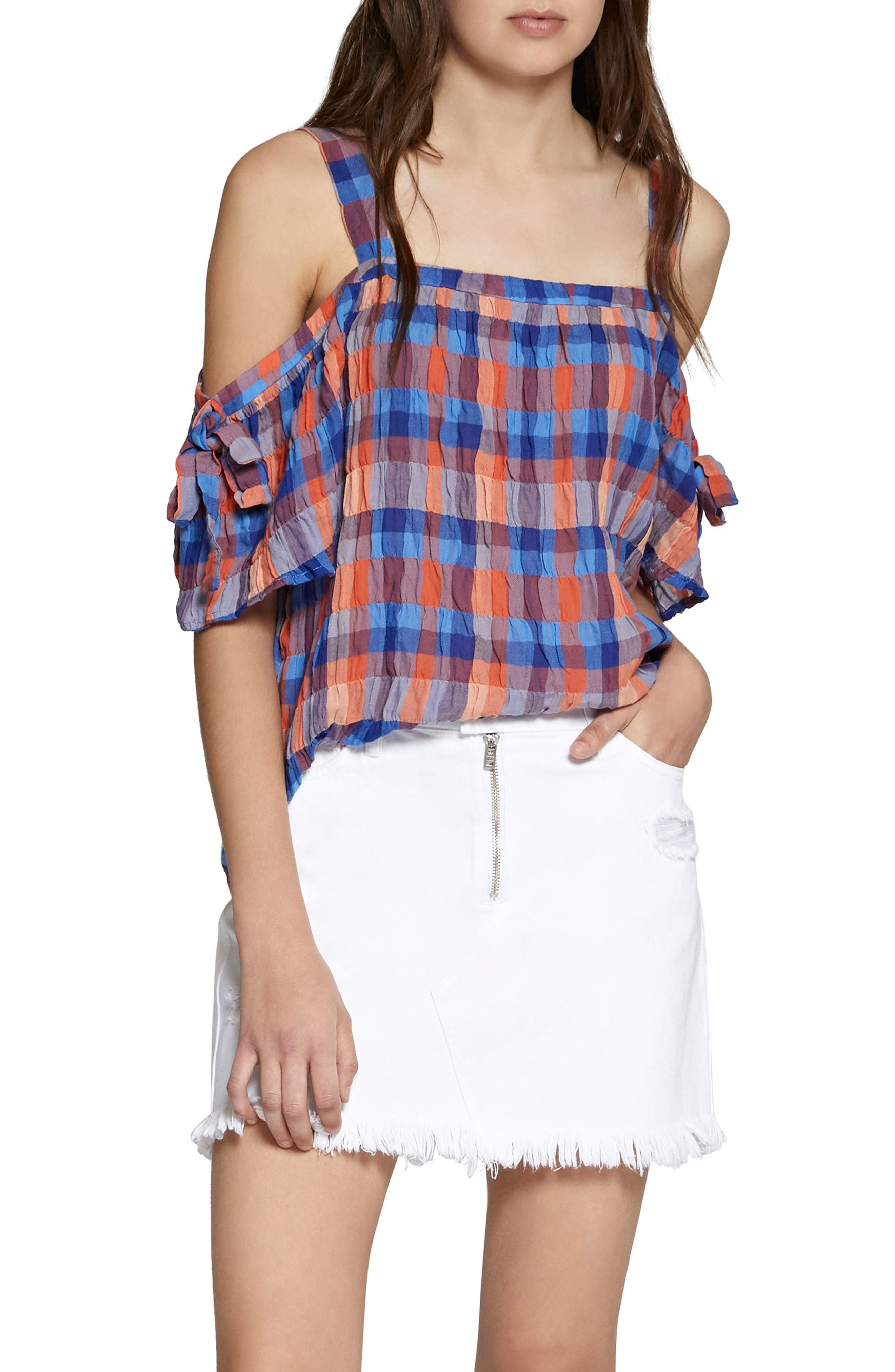 Dawn Off the Shoulder Check Blouse,                         Main,                         color, Spring Awakening