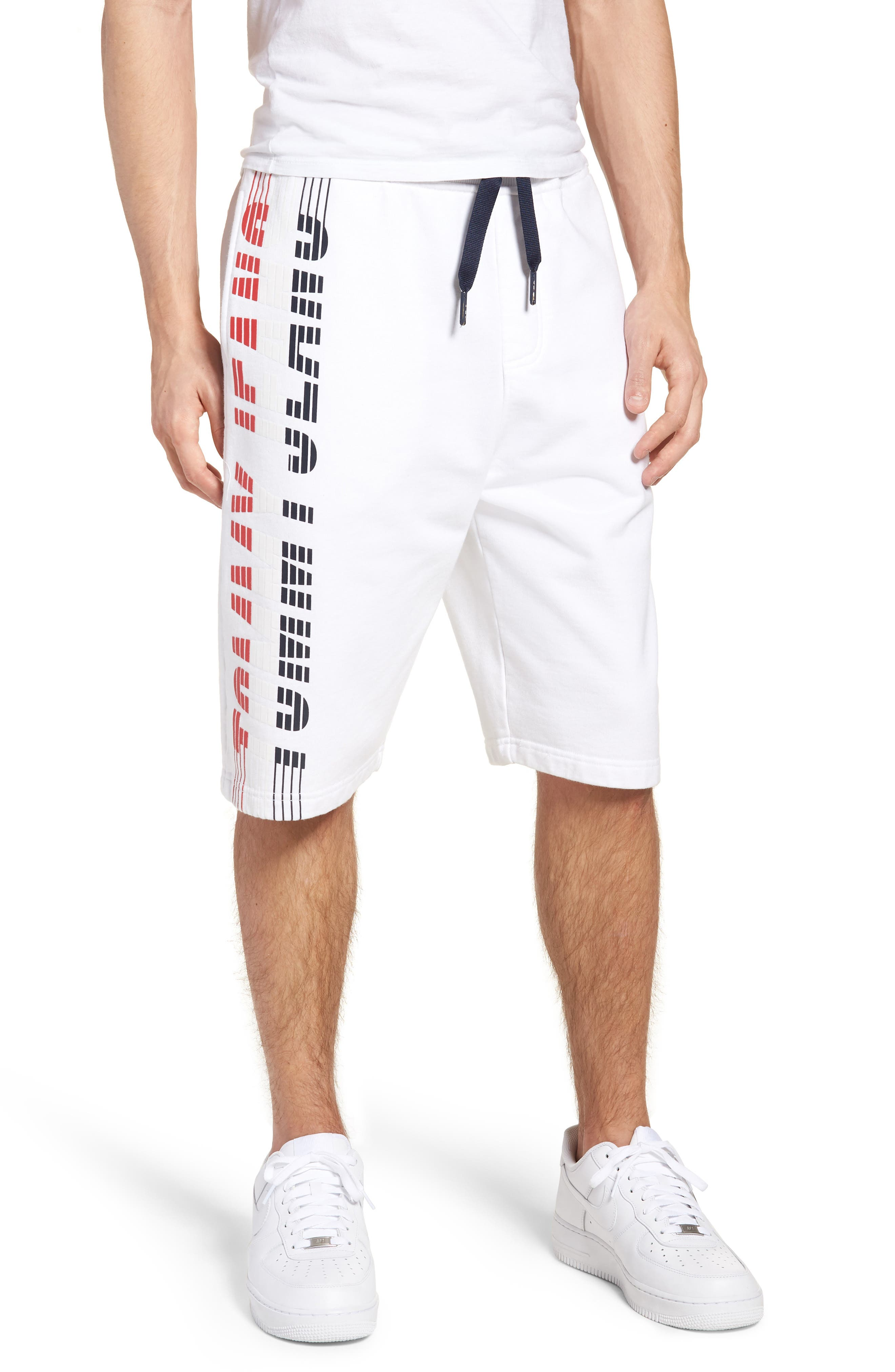 Vintage Graphic Basketball Shorts,                             Main thumbnail 1, color,                             Classic White
