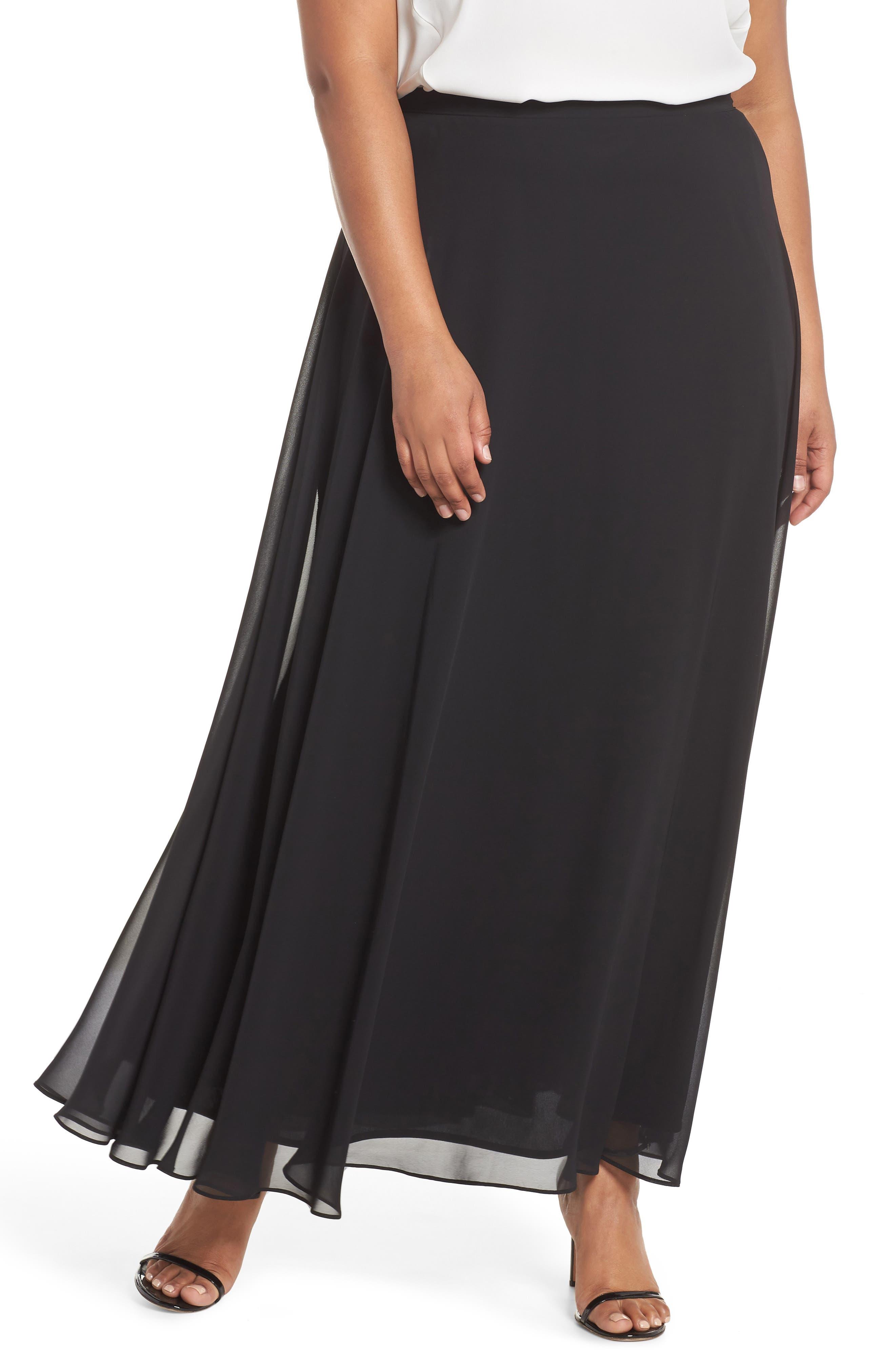 Long Circle Skirt,                             Main thumbnail 1, color,                             Black