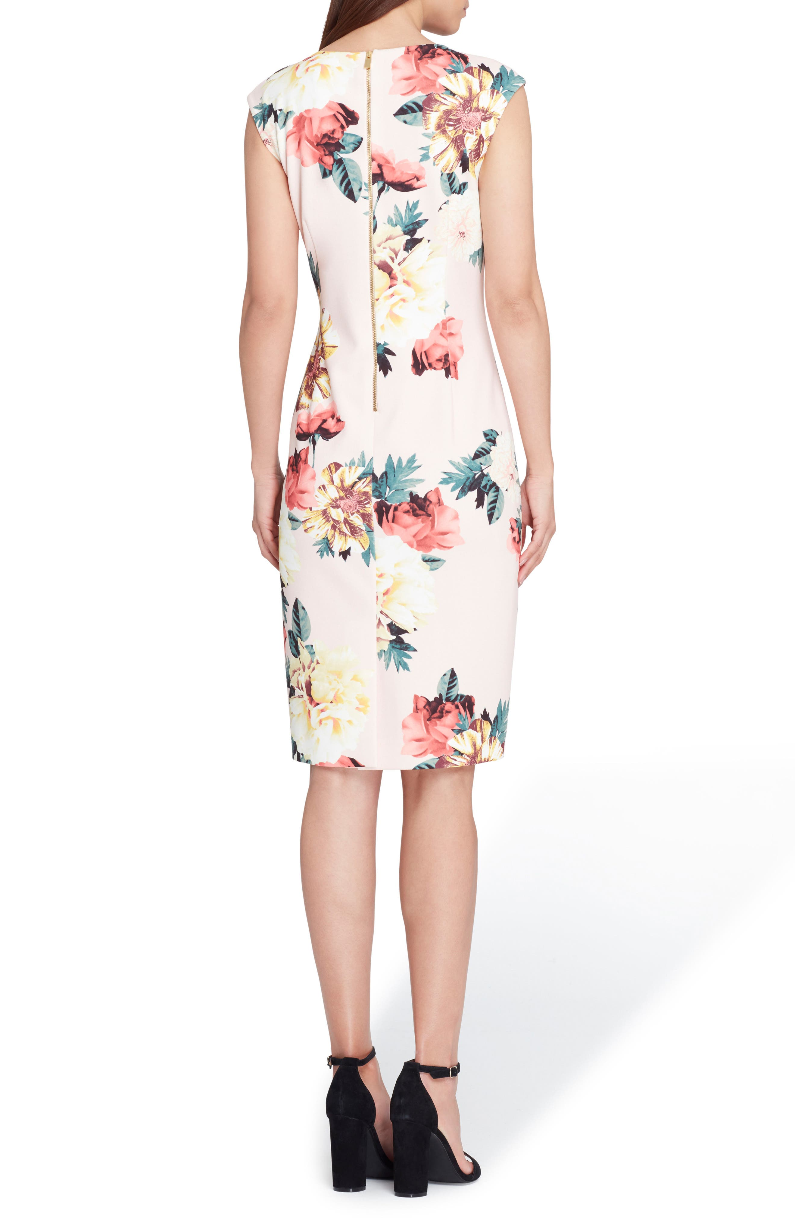 Floral Scuba Crepe Sheath Dress,                             Alternate thumbnail 2, color,                             Blush/ Lemon/ Coral