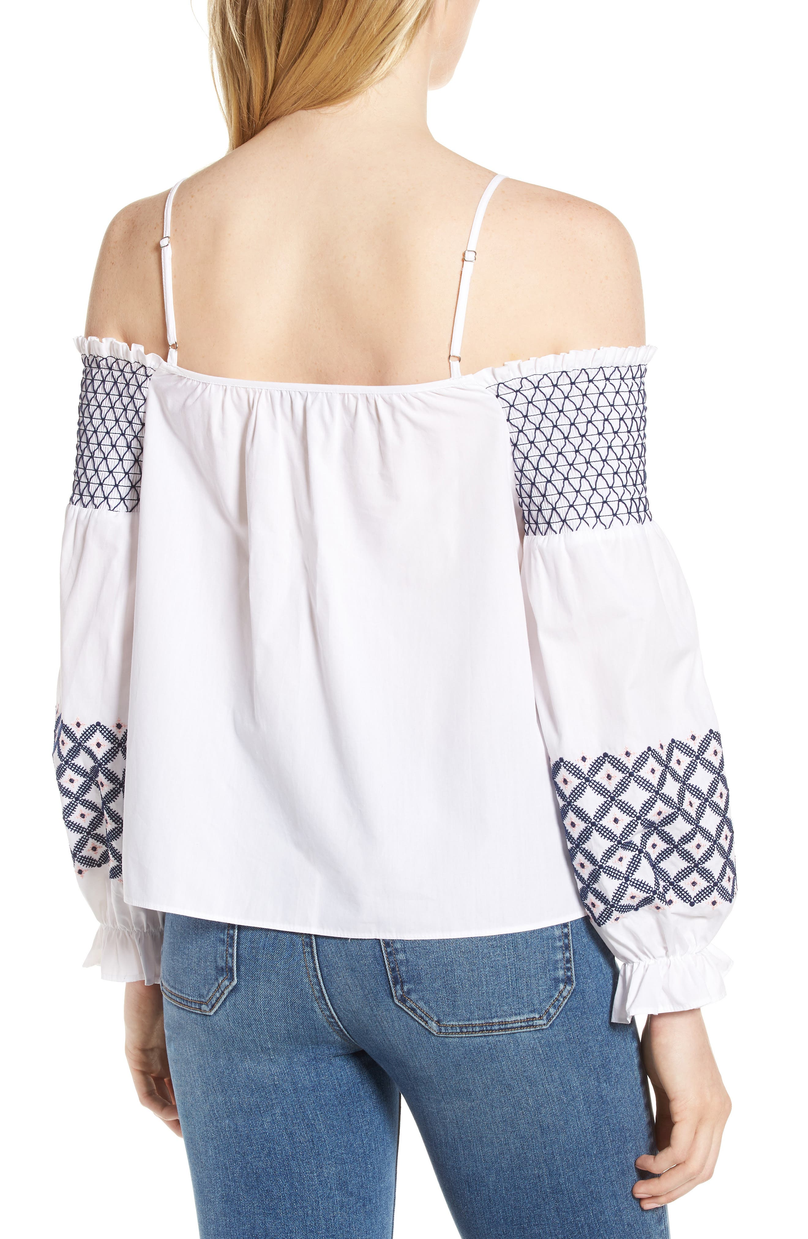 Tiffany Embroidered Cold Shoulder Top,                             Alternate thumbnail 2, color,                             White