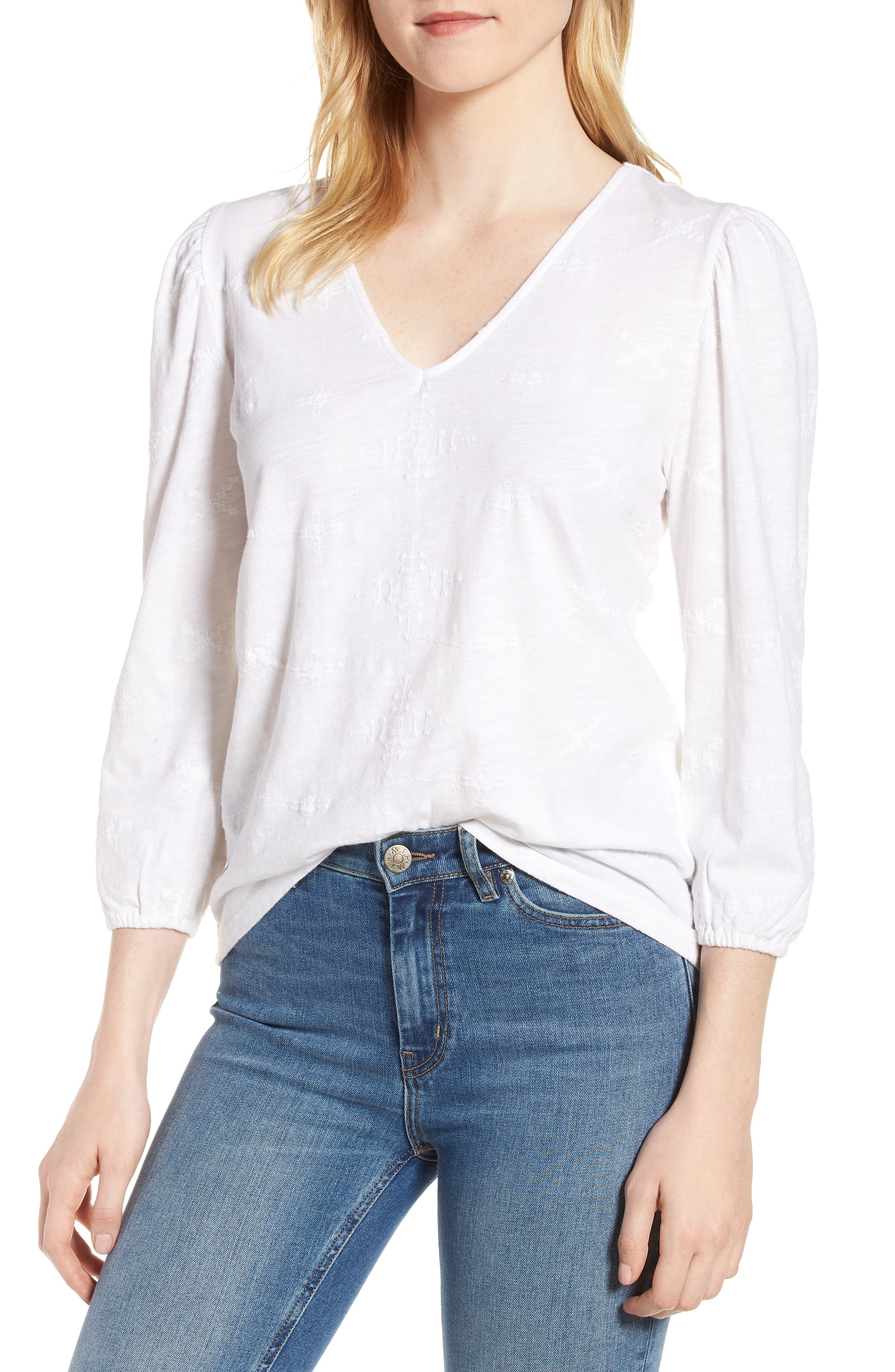Eyelet Knit Top,                             Main thumbnail 1, color,                             Lucky White