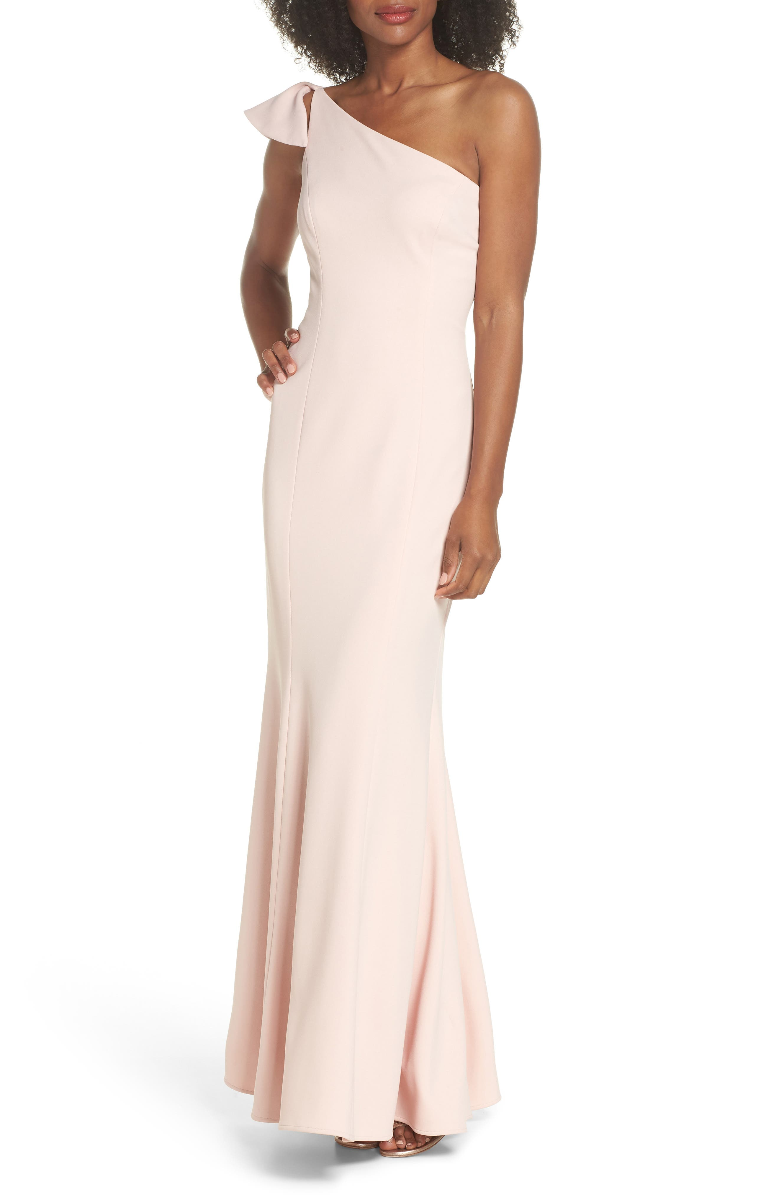 One-Shoulder Ruffle Gown,                             Main thumbnail 1, color,                             Blush