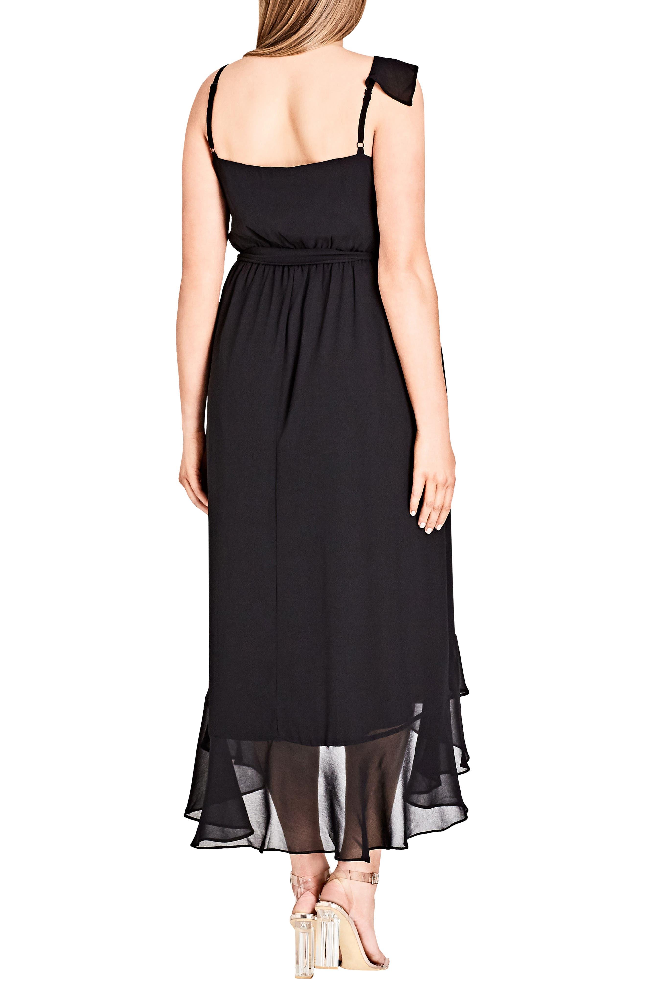 Flirty Detail Midi Wrap Dress,                             Alternate thumbnail 2, color,                             Black
