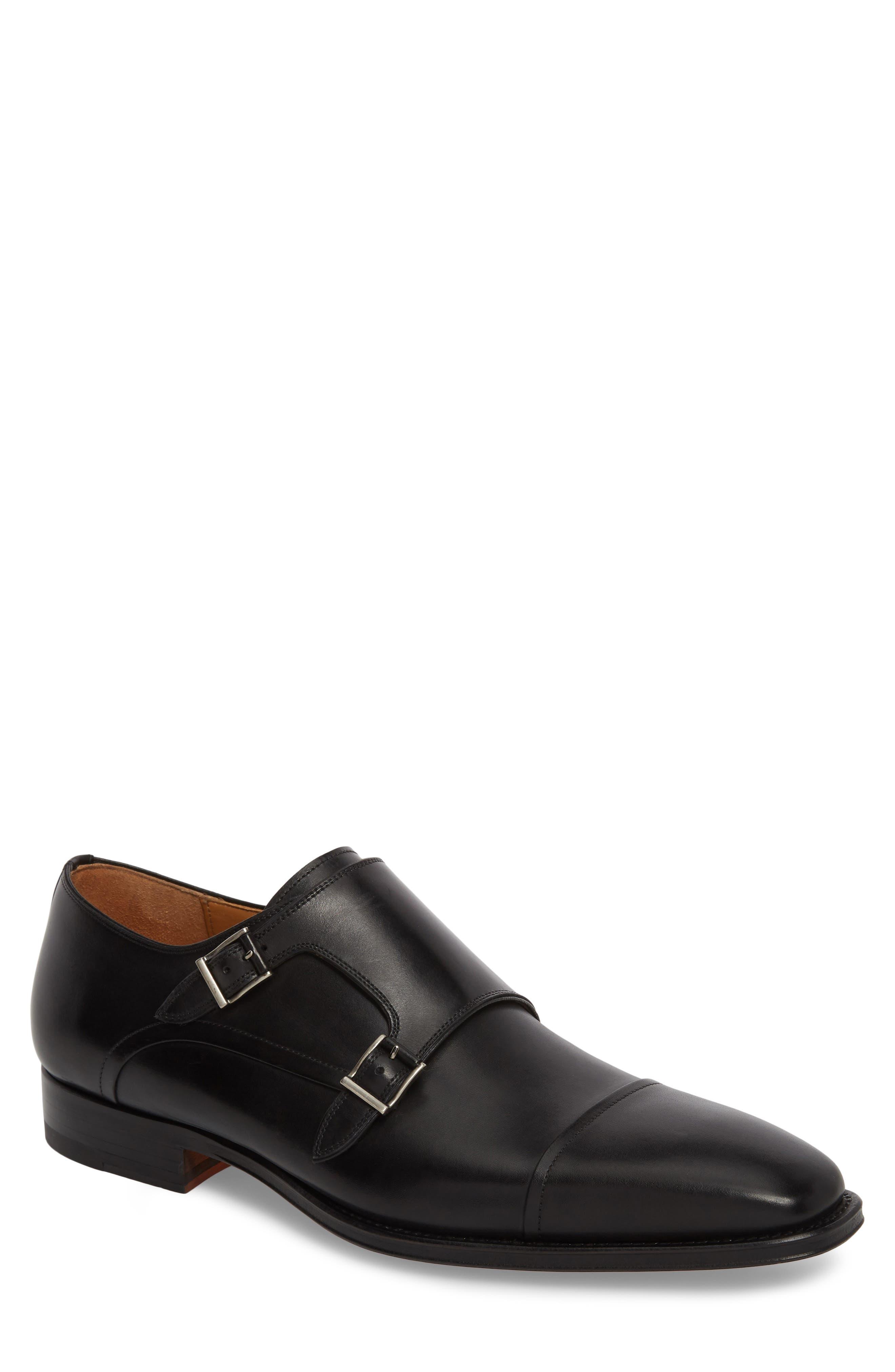 Silvio Double Monk Strap Shoe,                         Main,                         color, Black Leather