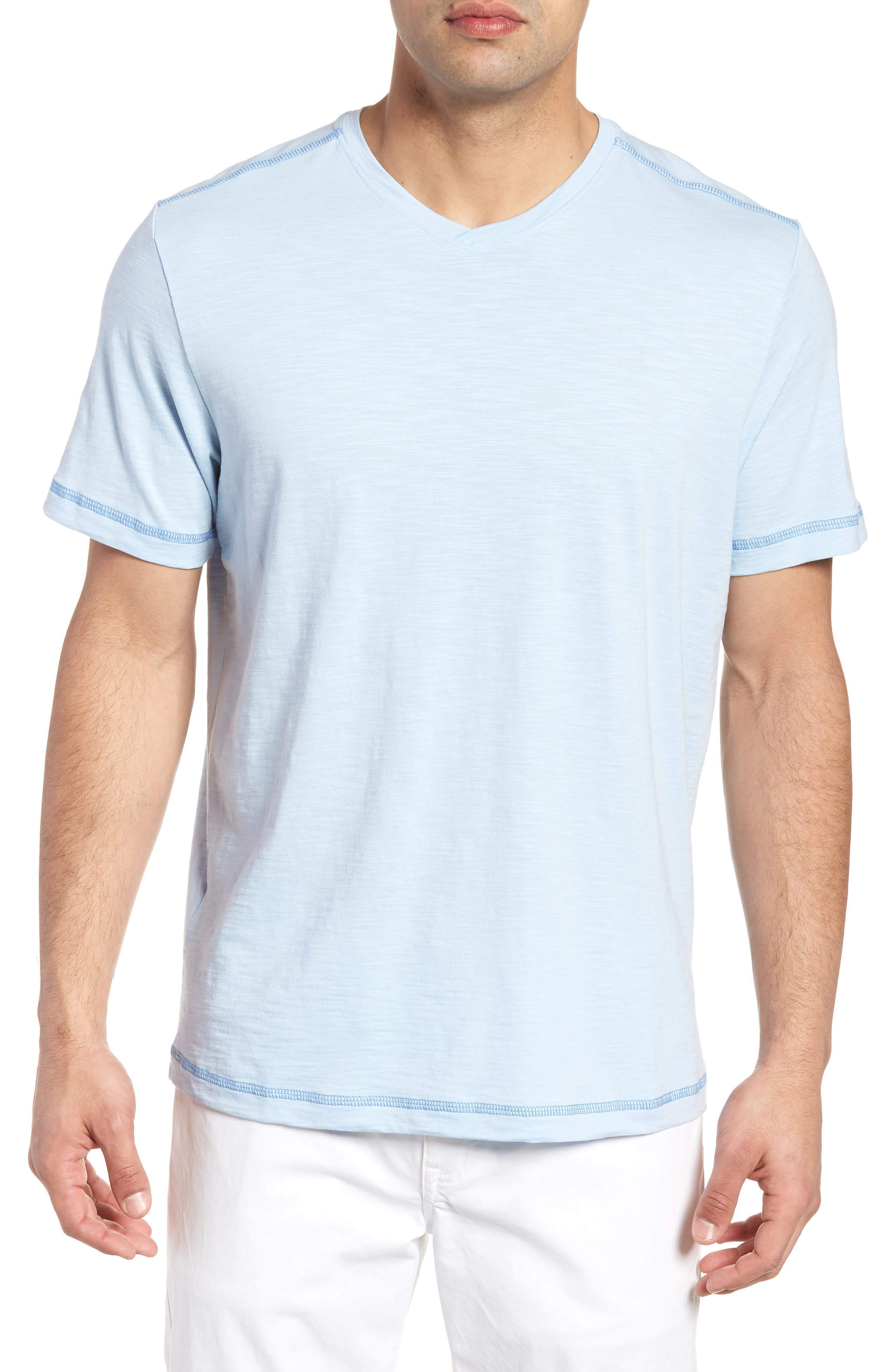 Portside Palms V-Neck T-Shirt,                             Main thumbnail 1, color,                             Icy