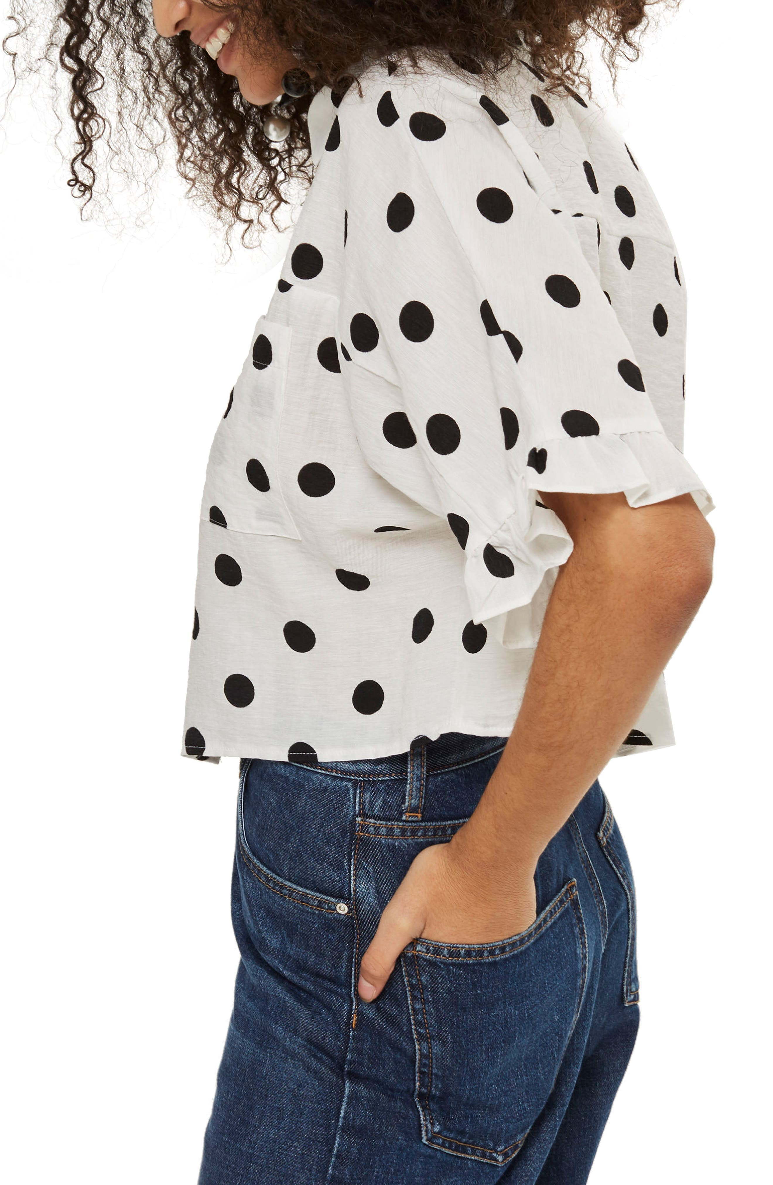 Fifi Frill Spot Shirt,                             Alternate thumbnail 2, color,                             White Multi