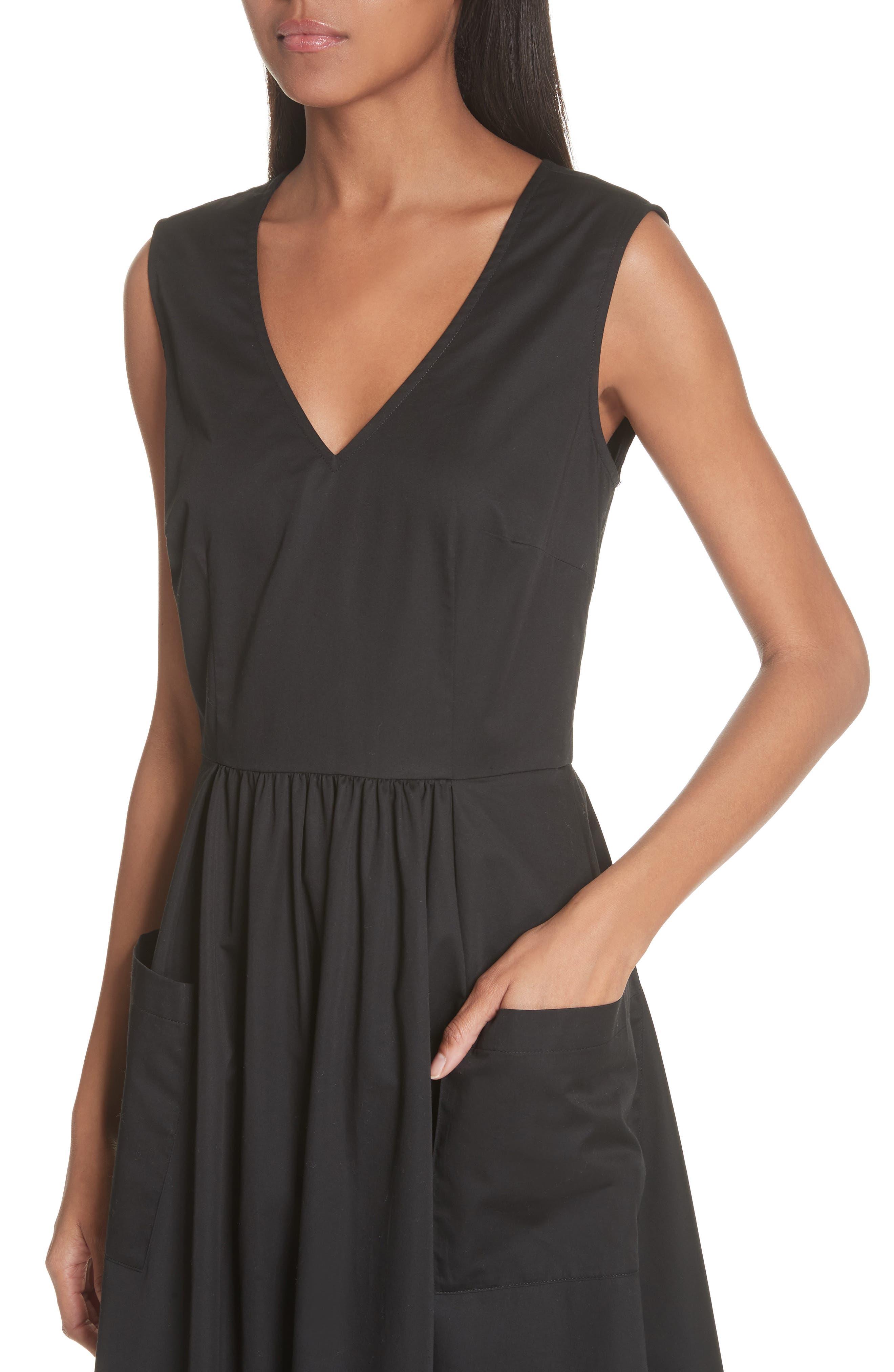 Patch Pocket Sateen Midi Dress,                             Alternate thumbnail 4, color,                             Black