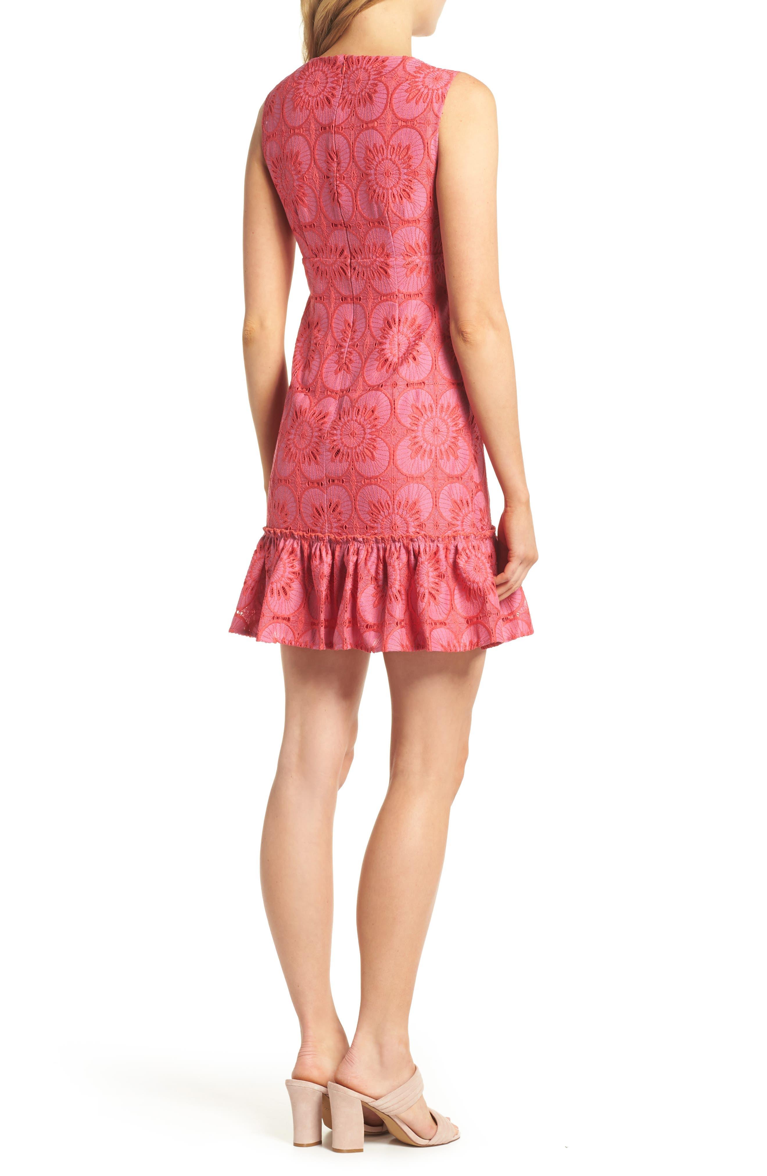 Carpinteria Lace Ruffle Hem Dress,                             Alternate thumbnail 2, color,                             Peony