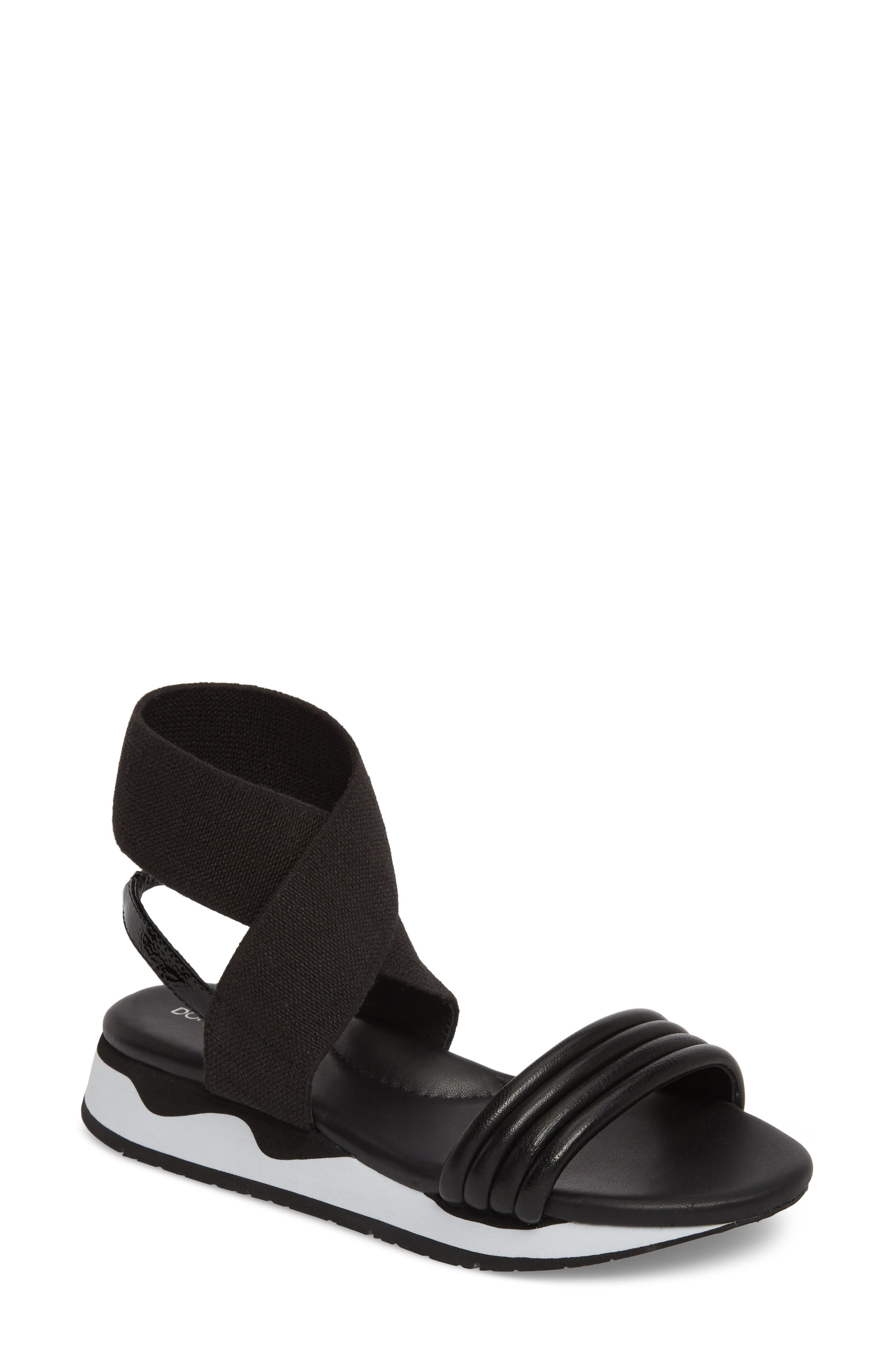 Shaye Ankle Strap Sandal,                             Main thumbnail 1, color,                             Black Leather