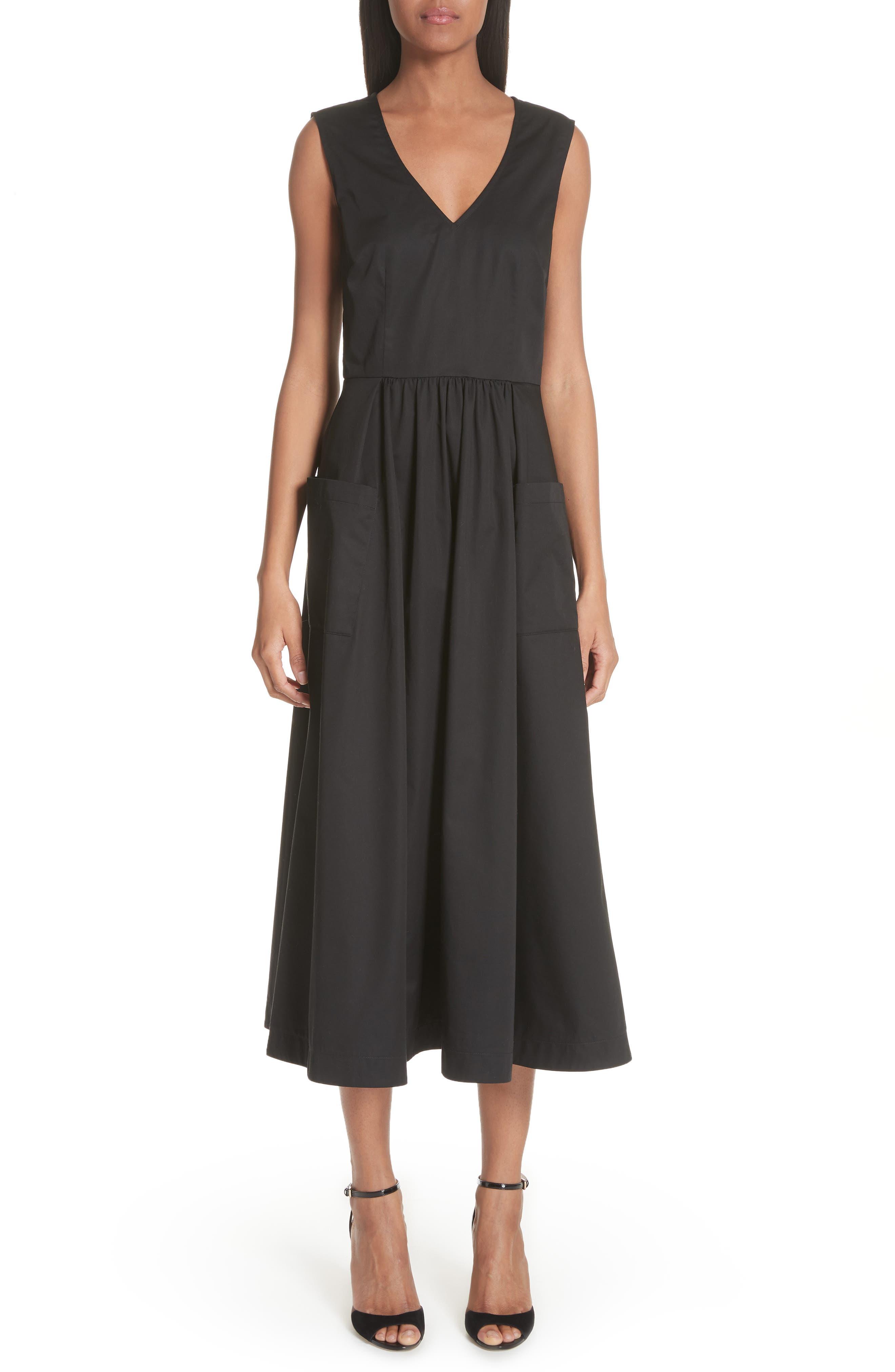 Patch Pocket Sateen Midi Dress,                             Main thumbnail 1, color,                             Black