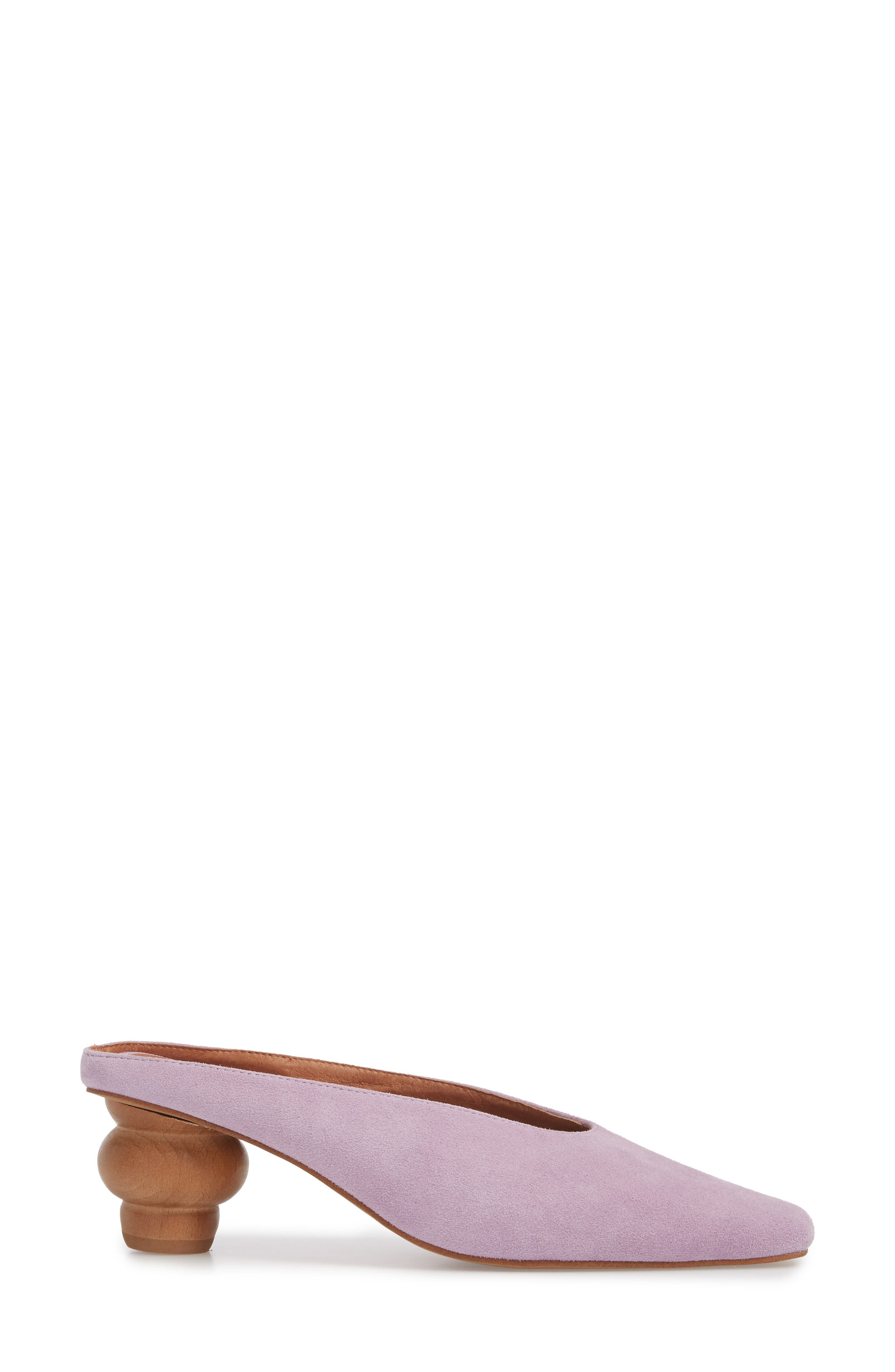 Cryptic Statement Heel Mule,                             Alternate thumbnail 3, color,                             Lilac Suede