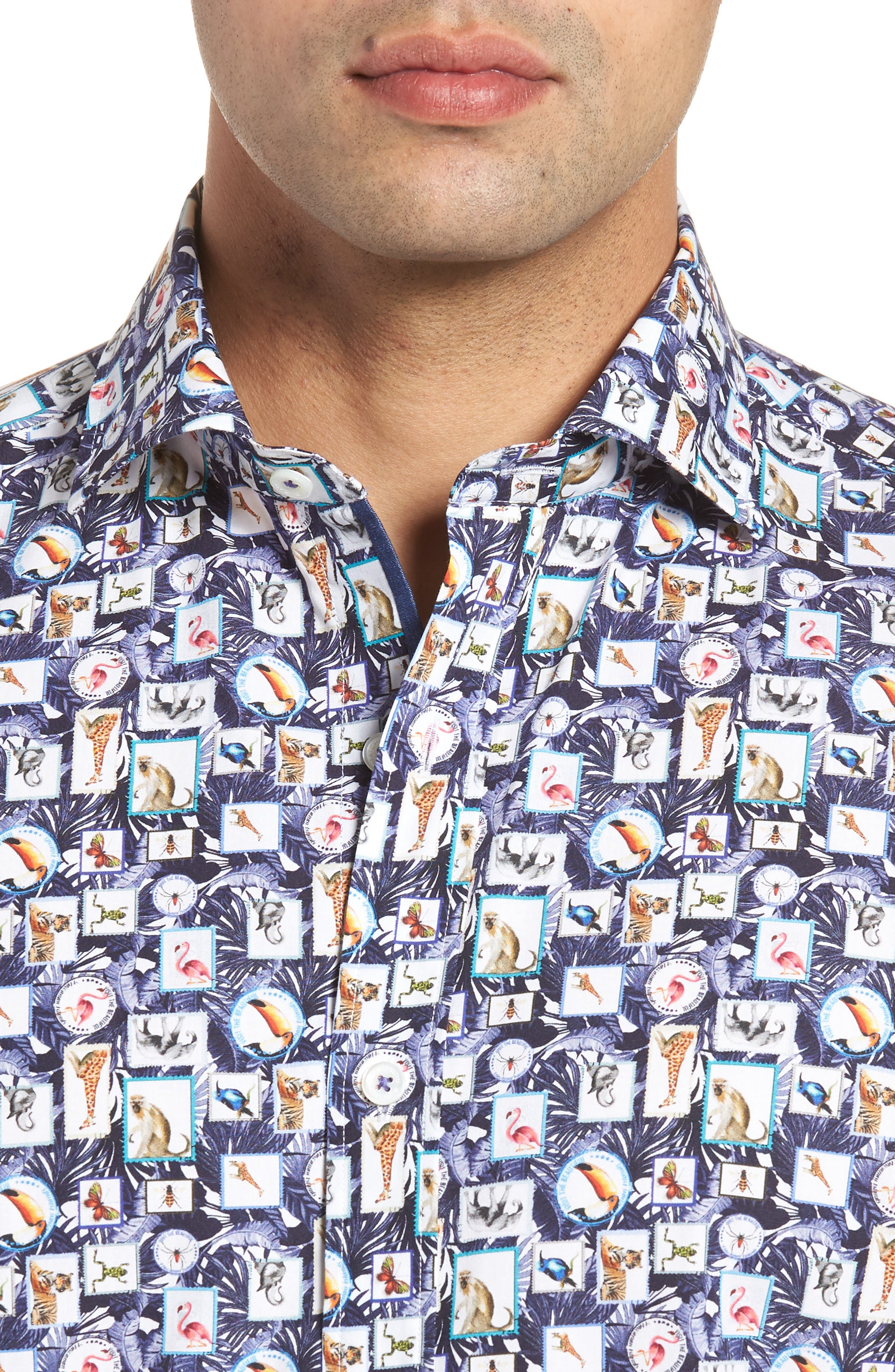 Animal Photo Collage Classic Fit Sport Shirt,                             Alternate thumbnail 4, color,                             Night Blue