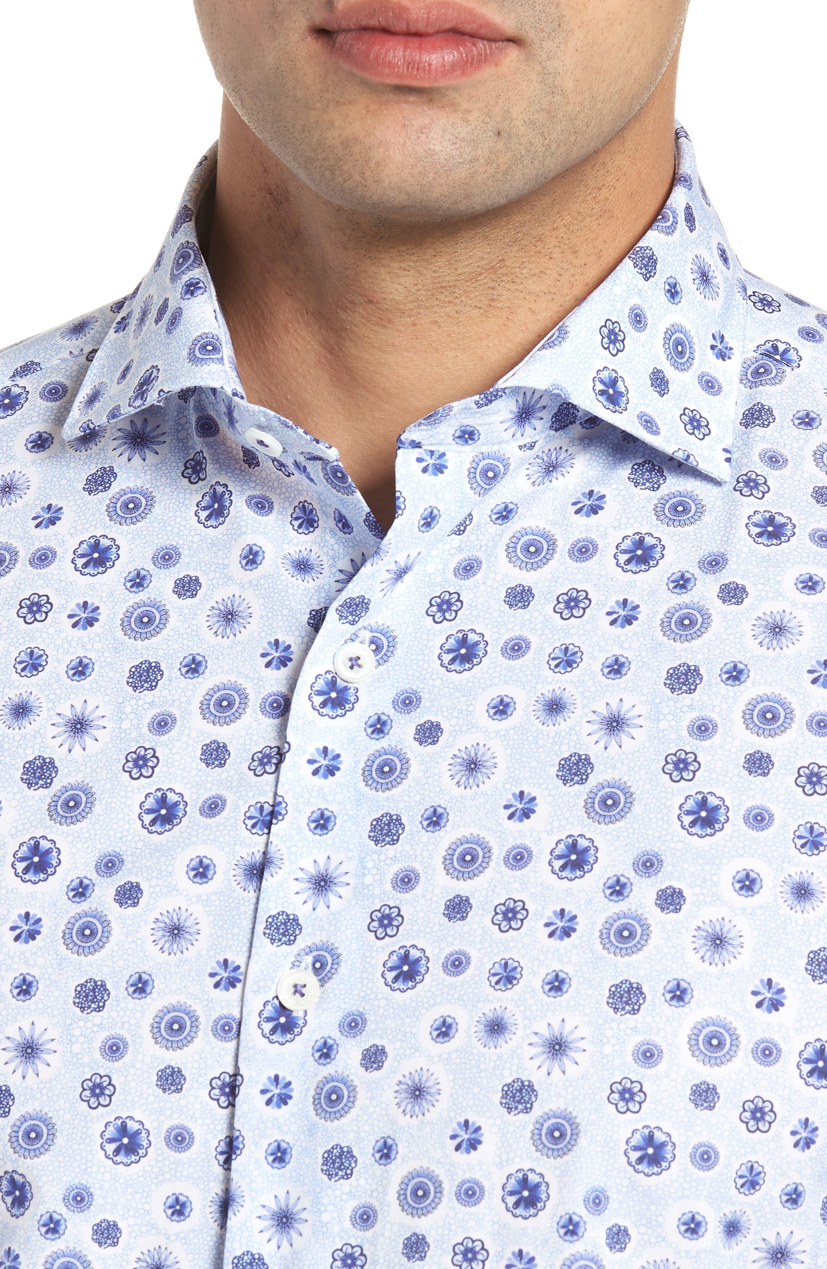 Classic Fit Woven Sport Shirt,                             Alternate thumbnail 4, color,                             Sky