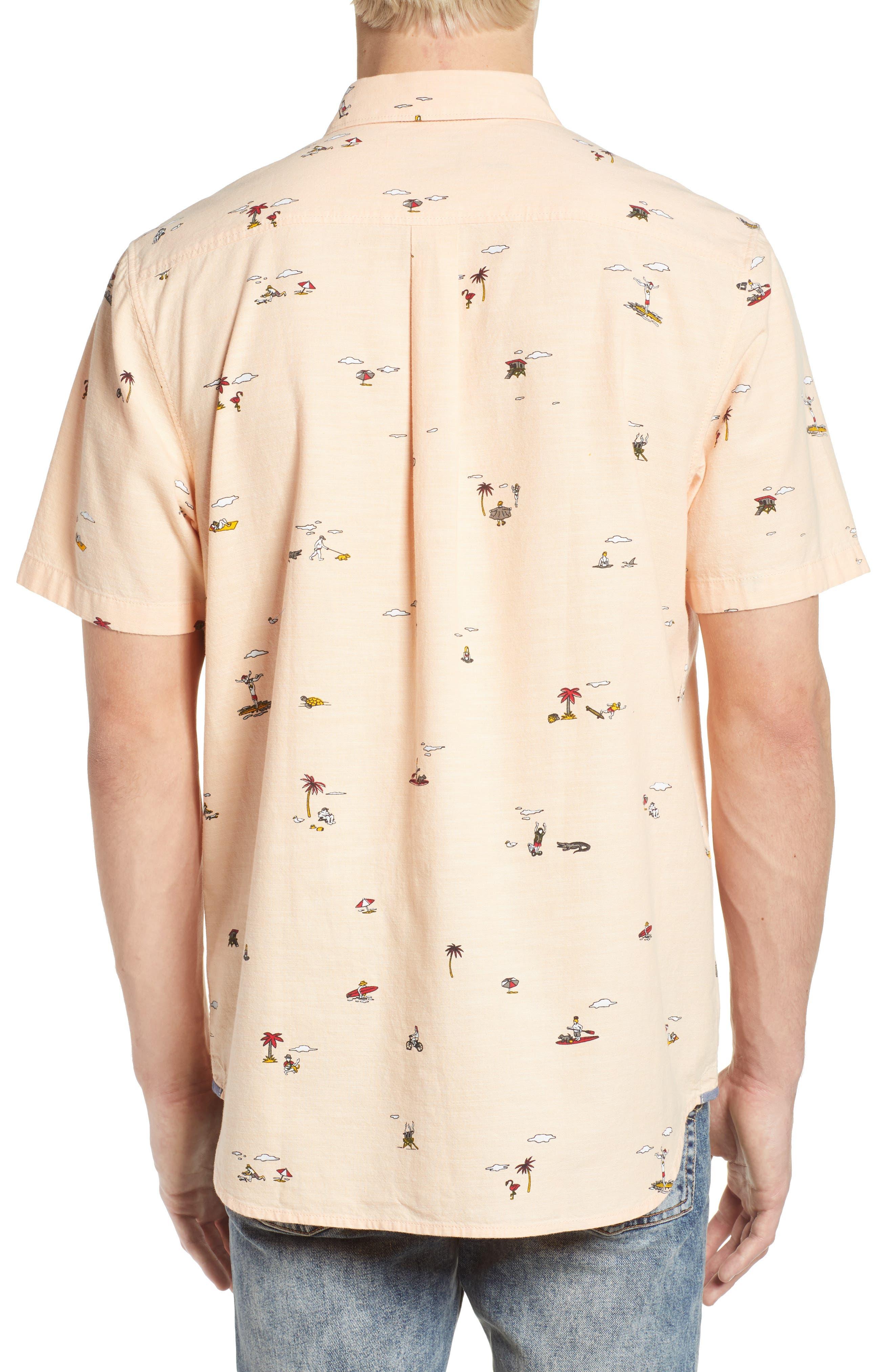 Tres Palmas Short Sleeve Shirt,                             Alternate thumbnail 2, color,                             Apricot Ice