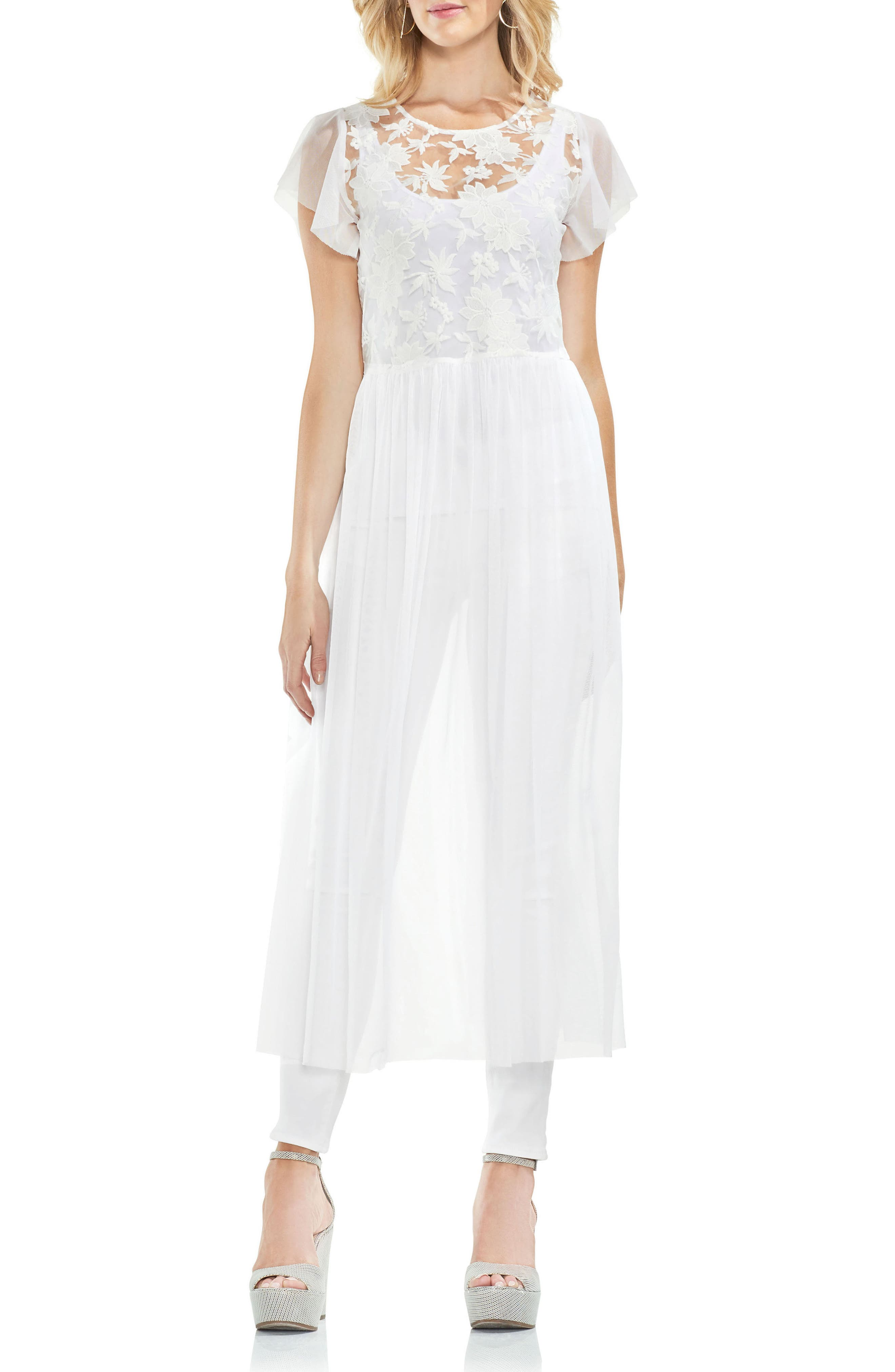 Embrodidered Mesh Layering Dress,                         Main,                         color, Ultra White