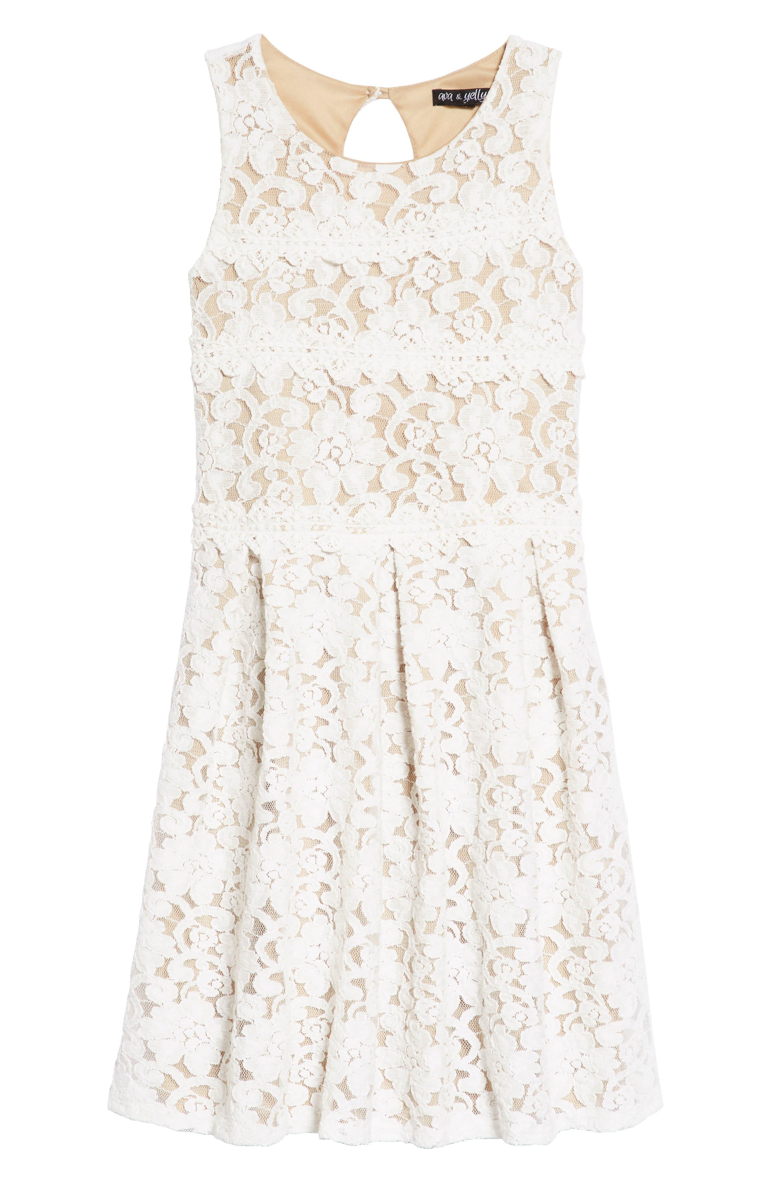 Two Tone Lace Skater Dress,                             Main thumbnail 1, color,                             Ivory/ Tan