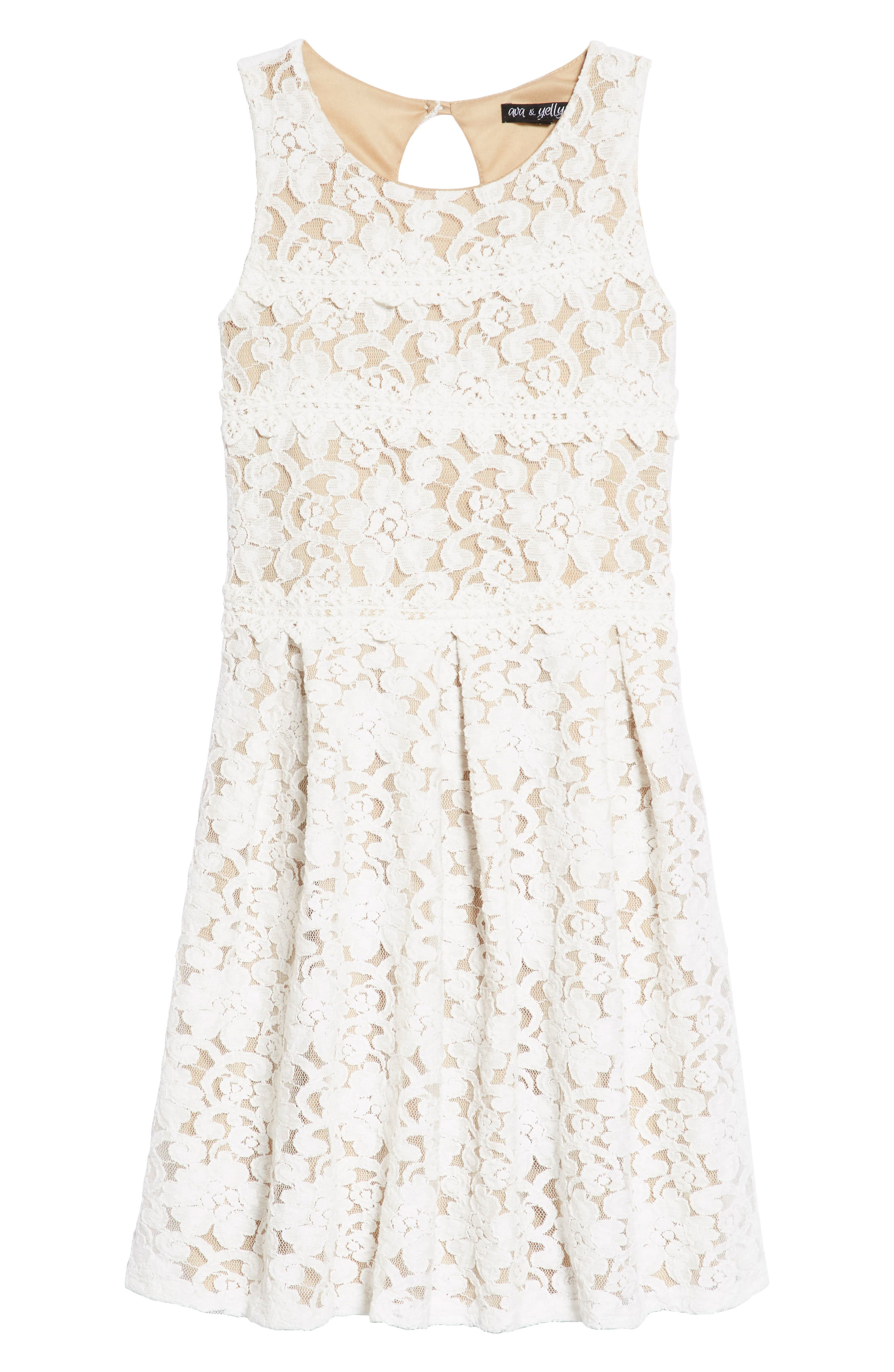 Two Tone Lace Skater Dress,                         Main,                         color, Ivory/ Tan