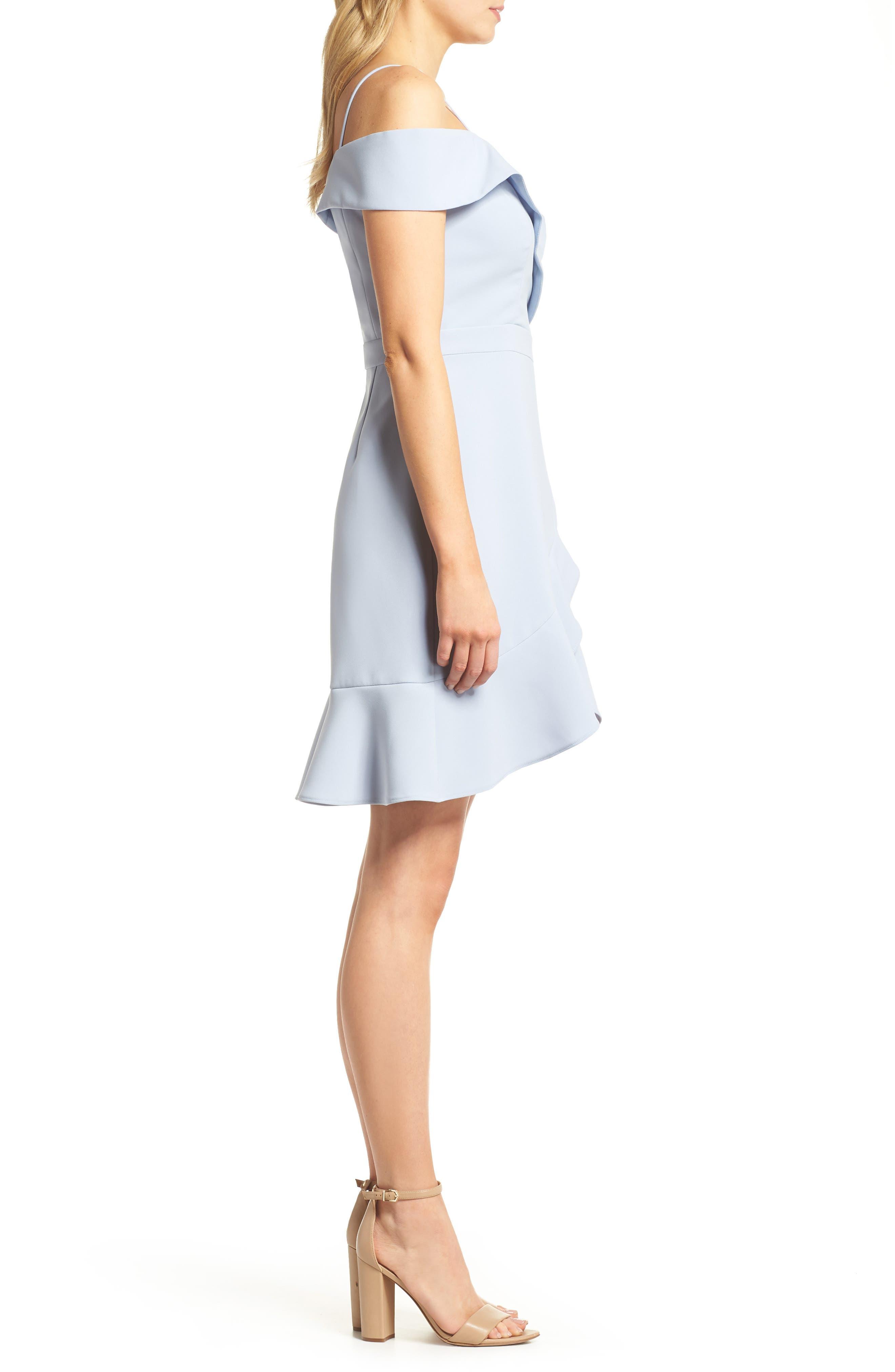 Cold Shoulder Ruffle Sheath Dress,                             Alternate thumbnail 3, color,                             Sky Blue