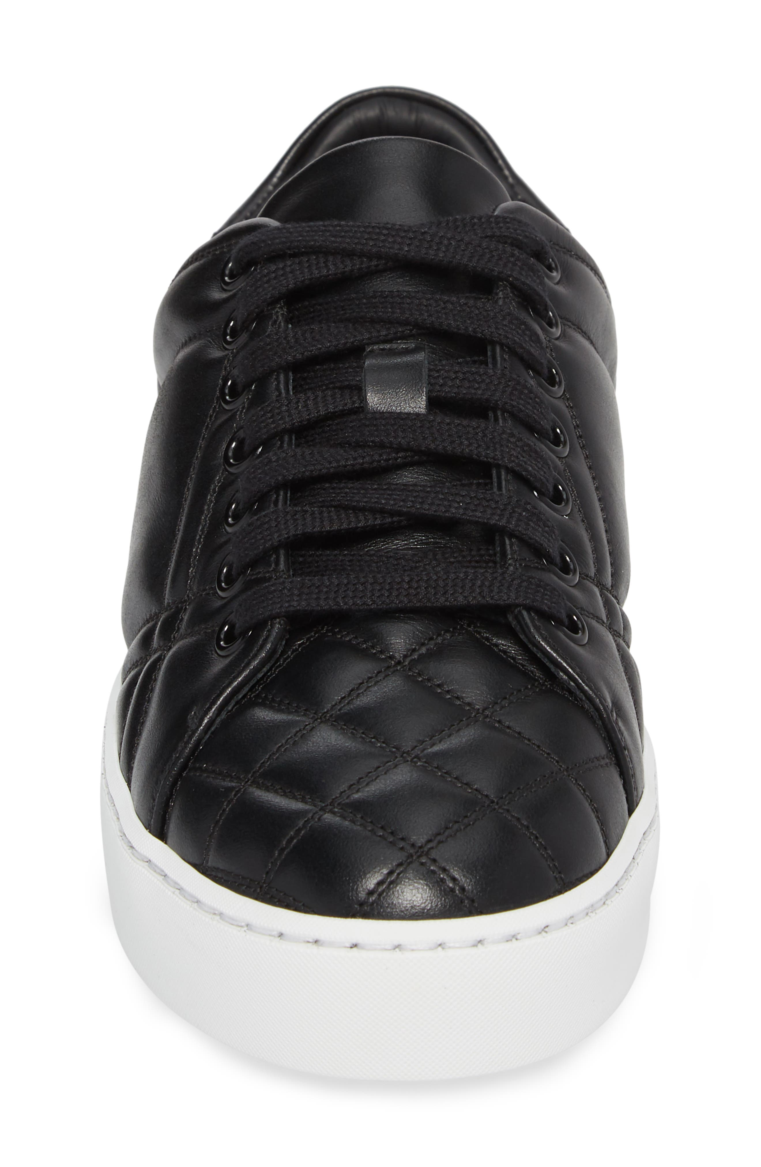 Check Quilted Leather Sneaker,                             Alternate thumbnail 4, color,                             Black Leather