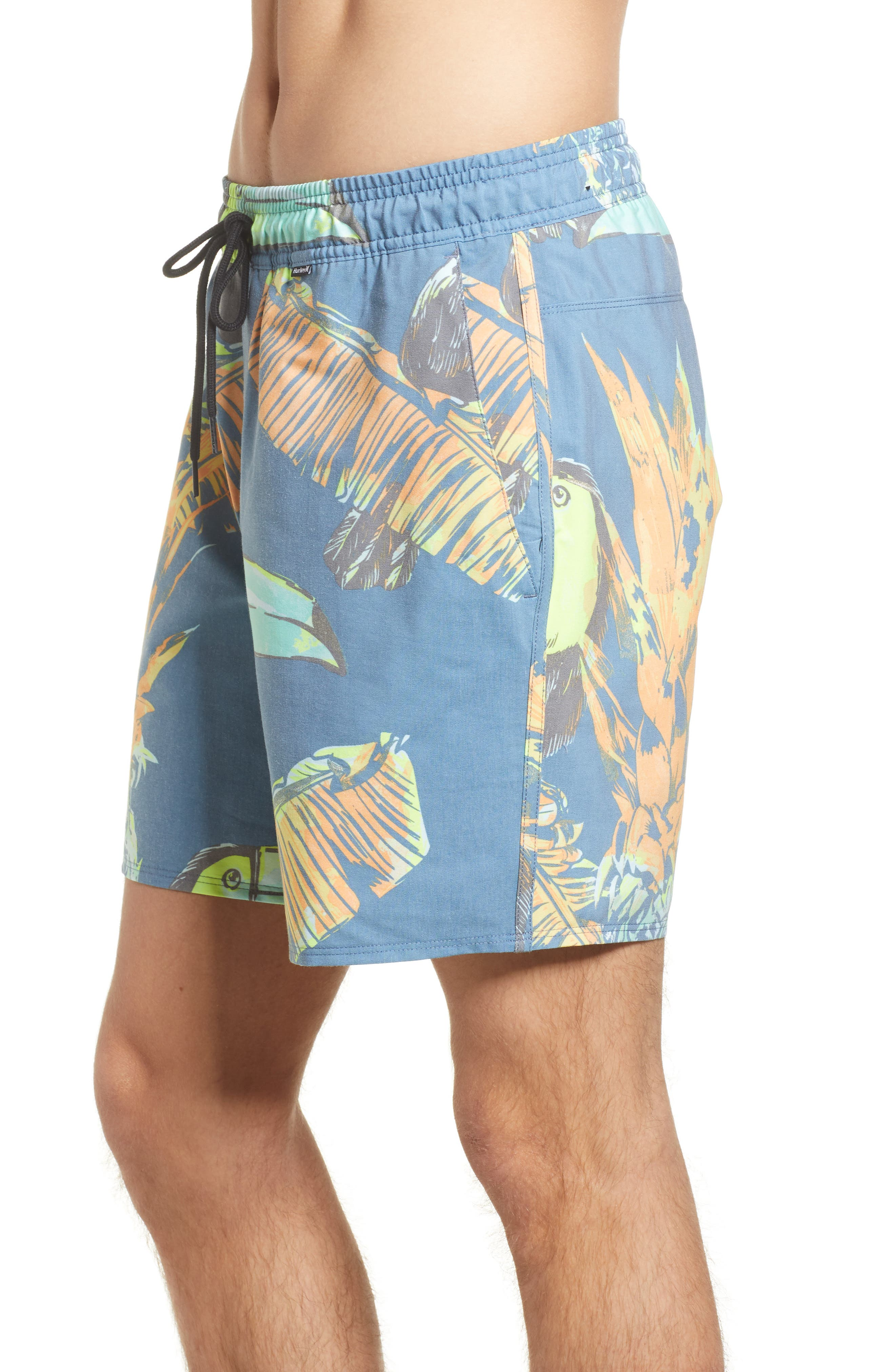 Paradise Volley Board Shorts,                             Alternate thumbnail 3, color,                             Blue Force