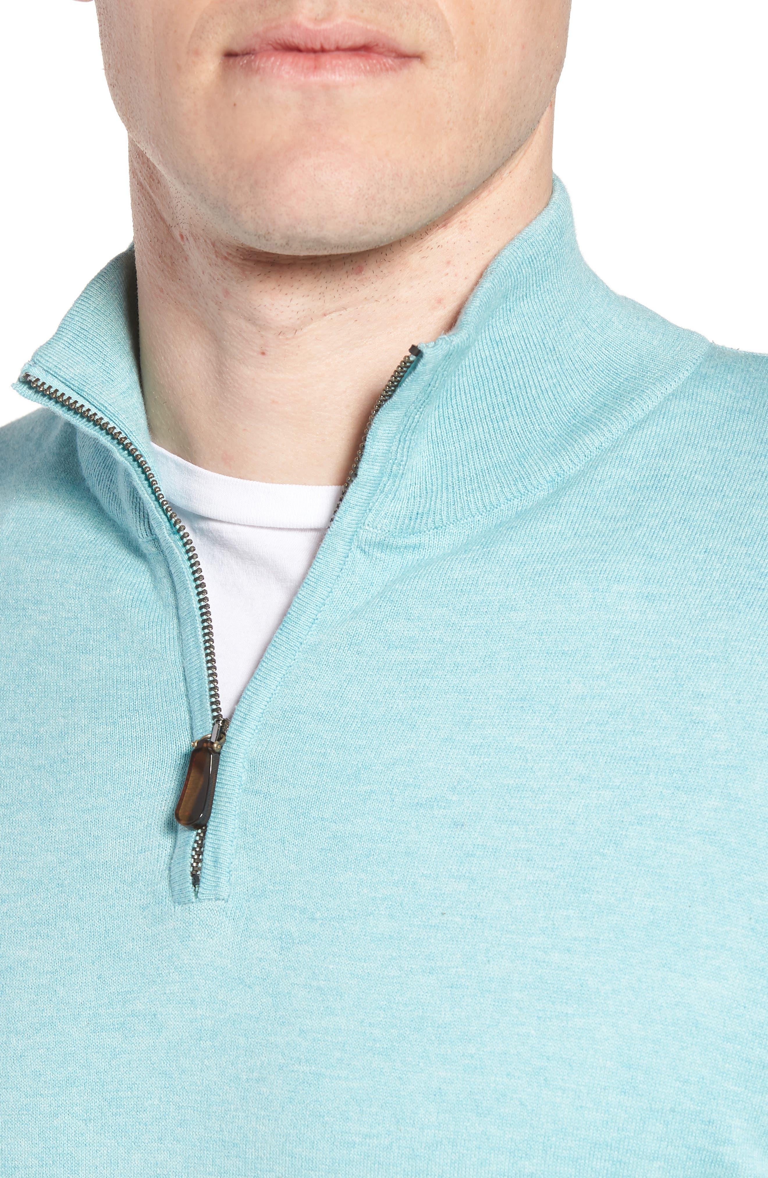 Cotton & Silk Quarter Zip Pullover,                             Alternate thumbnail 4, color,                             Seafoam