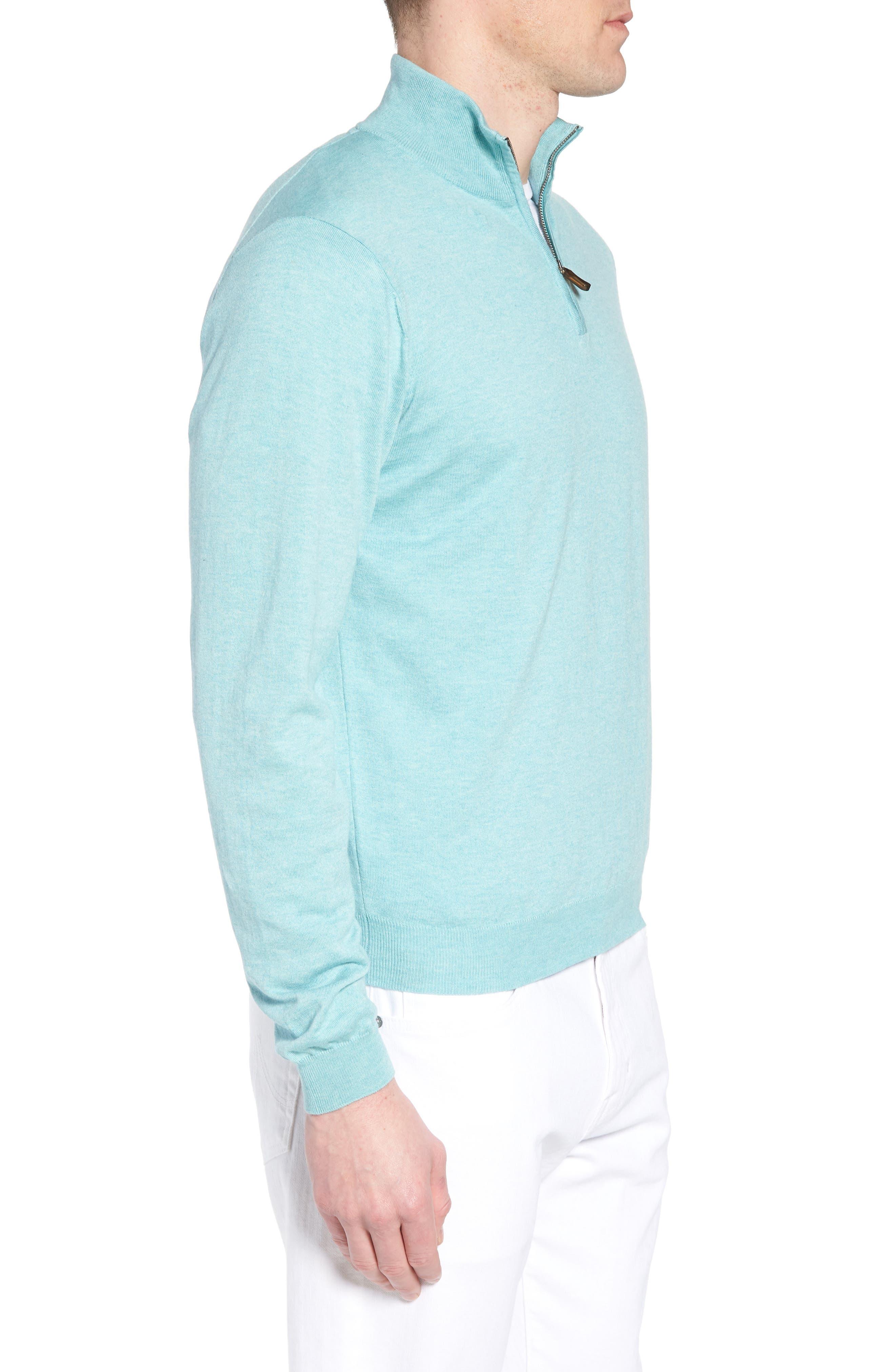 Cotton & Silk Quarter Zip Pullover,                             Alternate thumbnail 3, color,                             Seafoam
